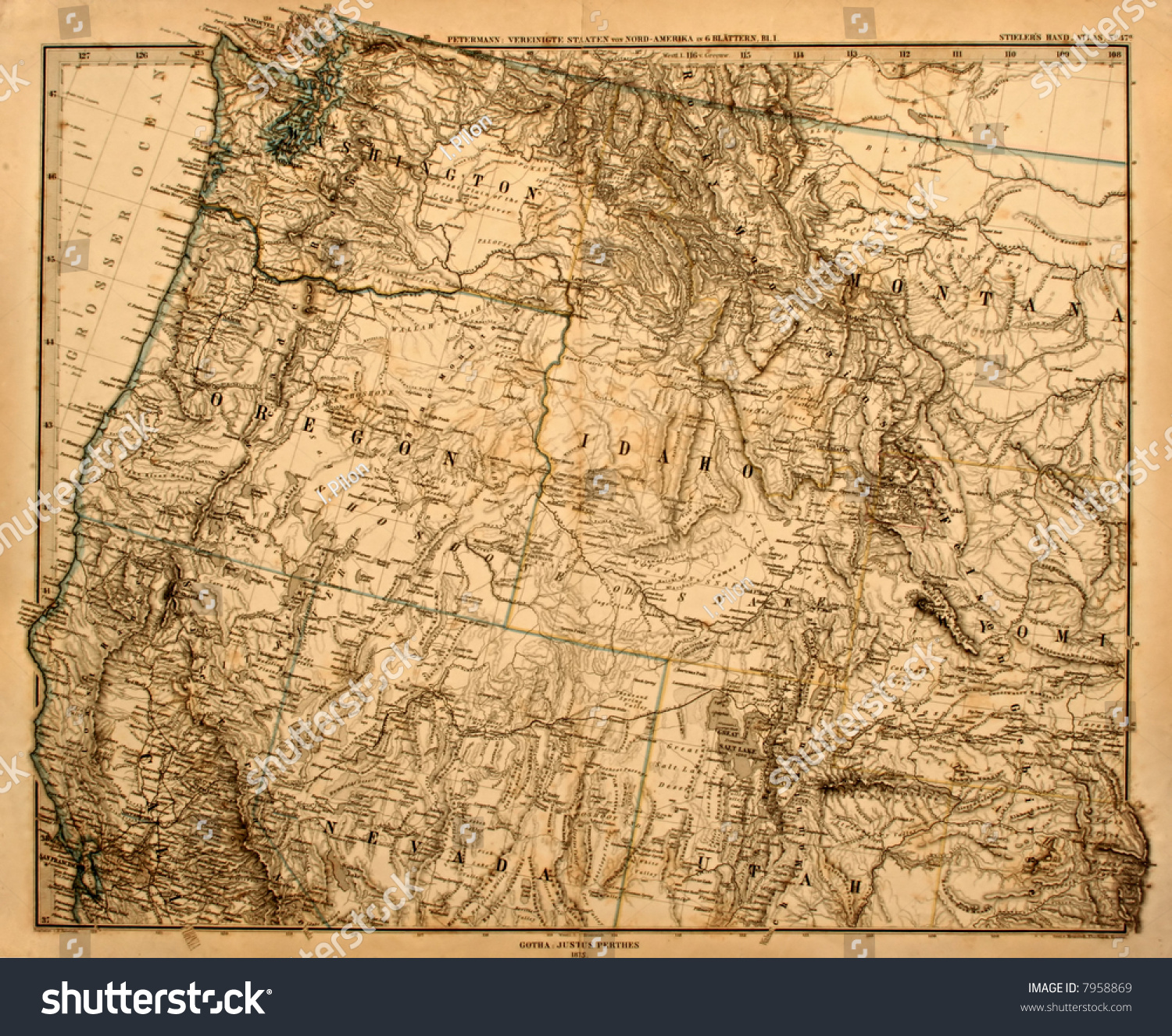 Original Vintage Map Us Pacific Northwest Stock Photo - Vintage map of us