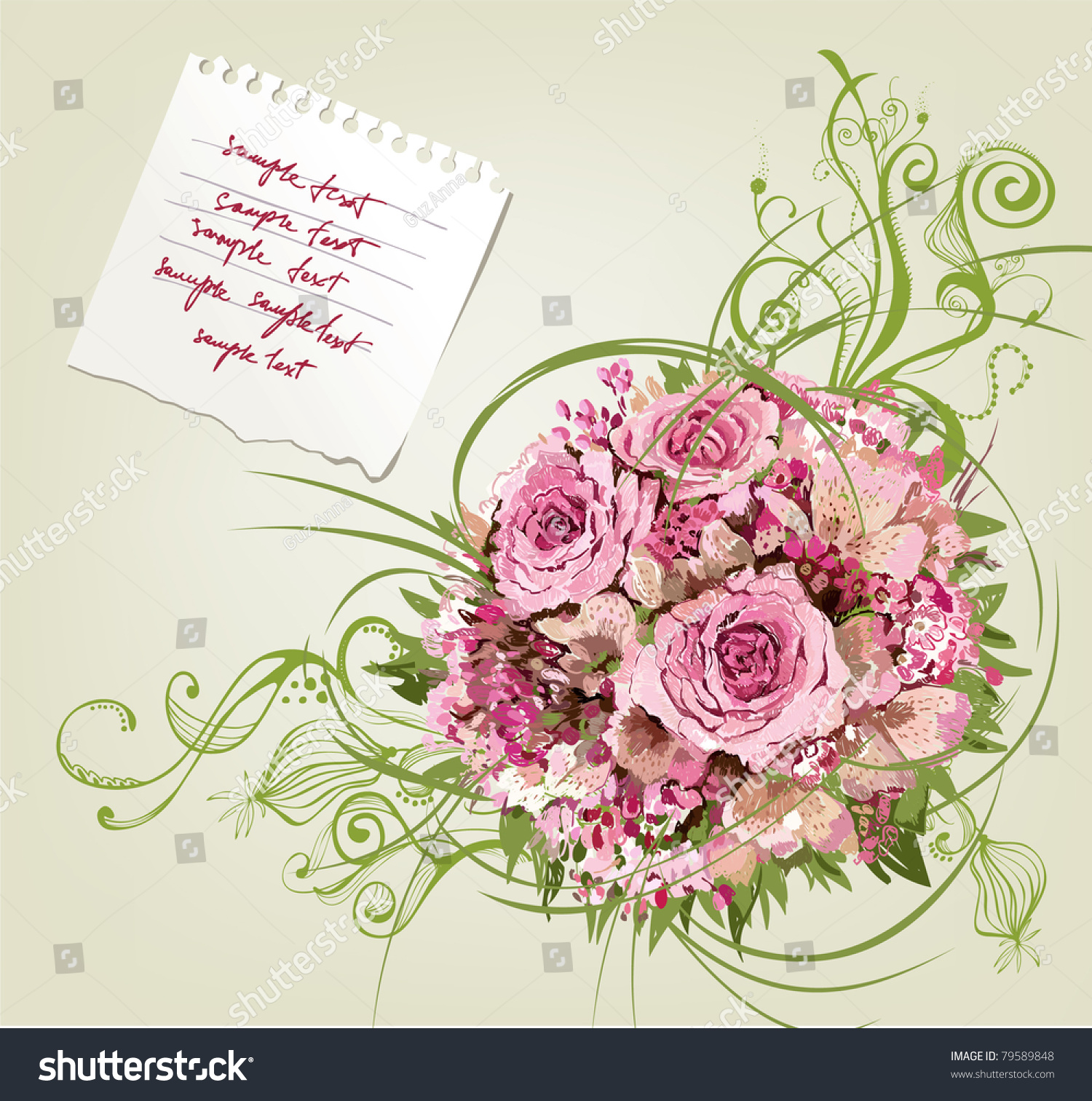 Beautiful Floral Background Paper Writing Stock Photo Photo Vector