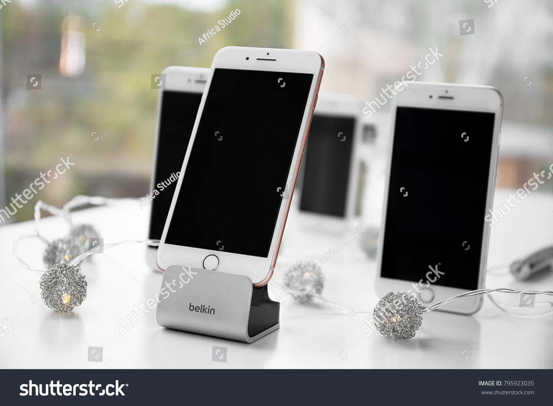 Kiev ukraine november 08 2017 modern iphone 8 plus gold and belkin