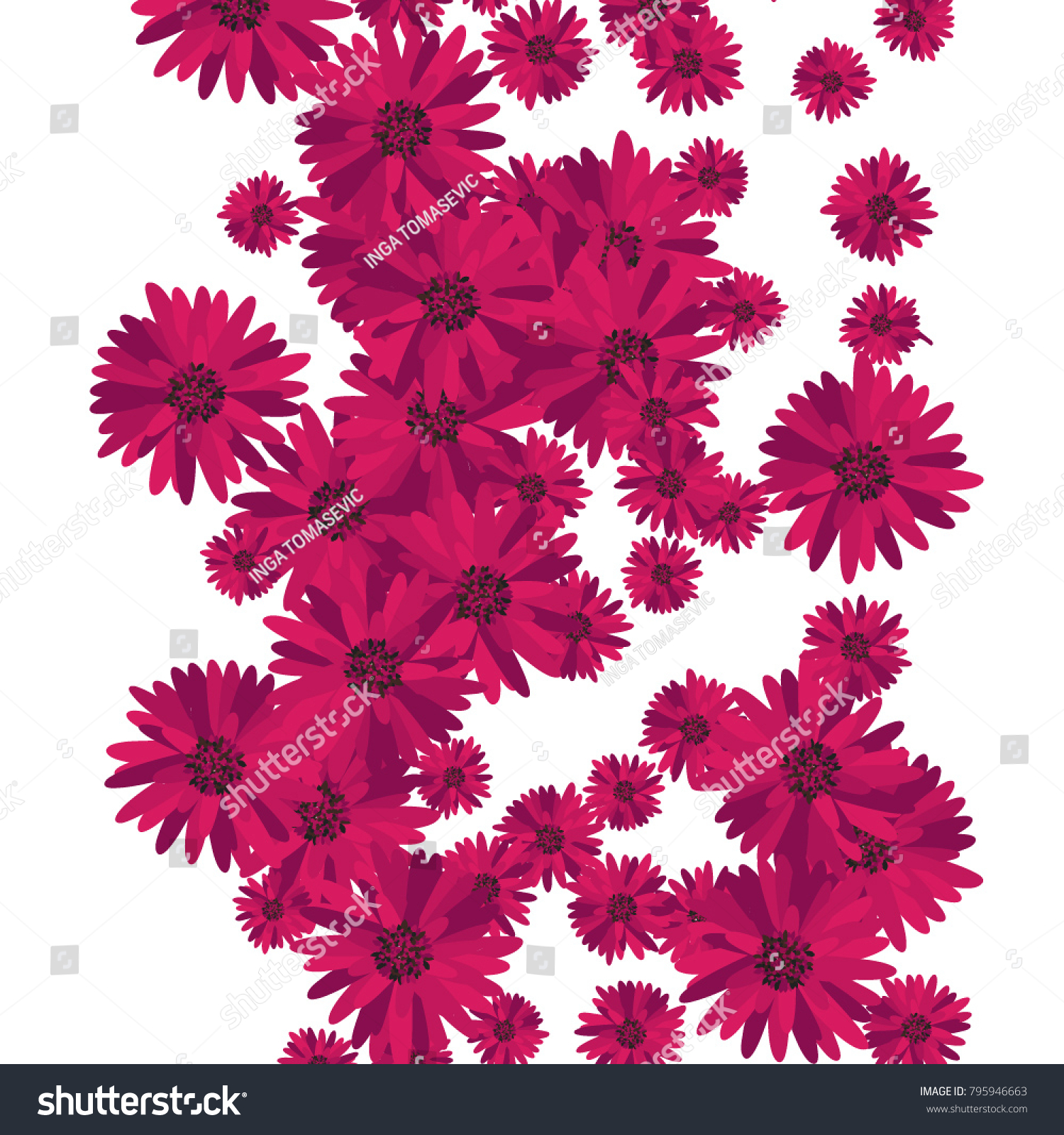 Flowers Background Placer Beautiful Lush Gerbers Stock Vector