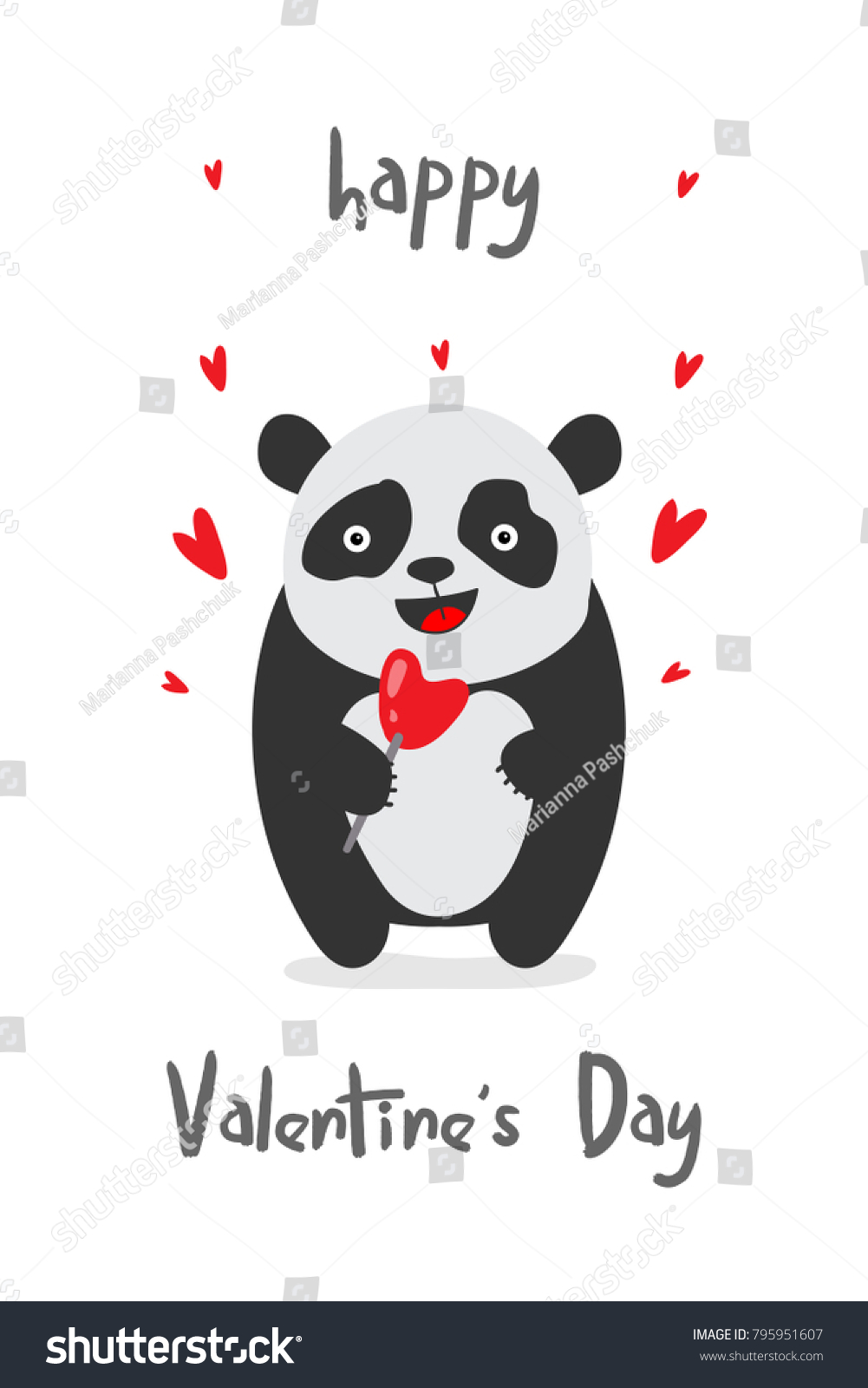 Happy Valentines Day Greeting Card With Cute Panda Vector
