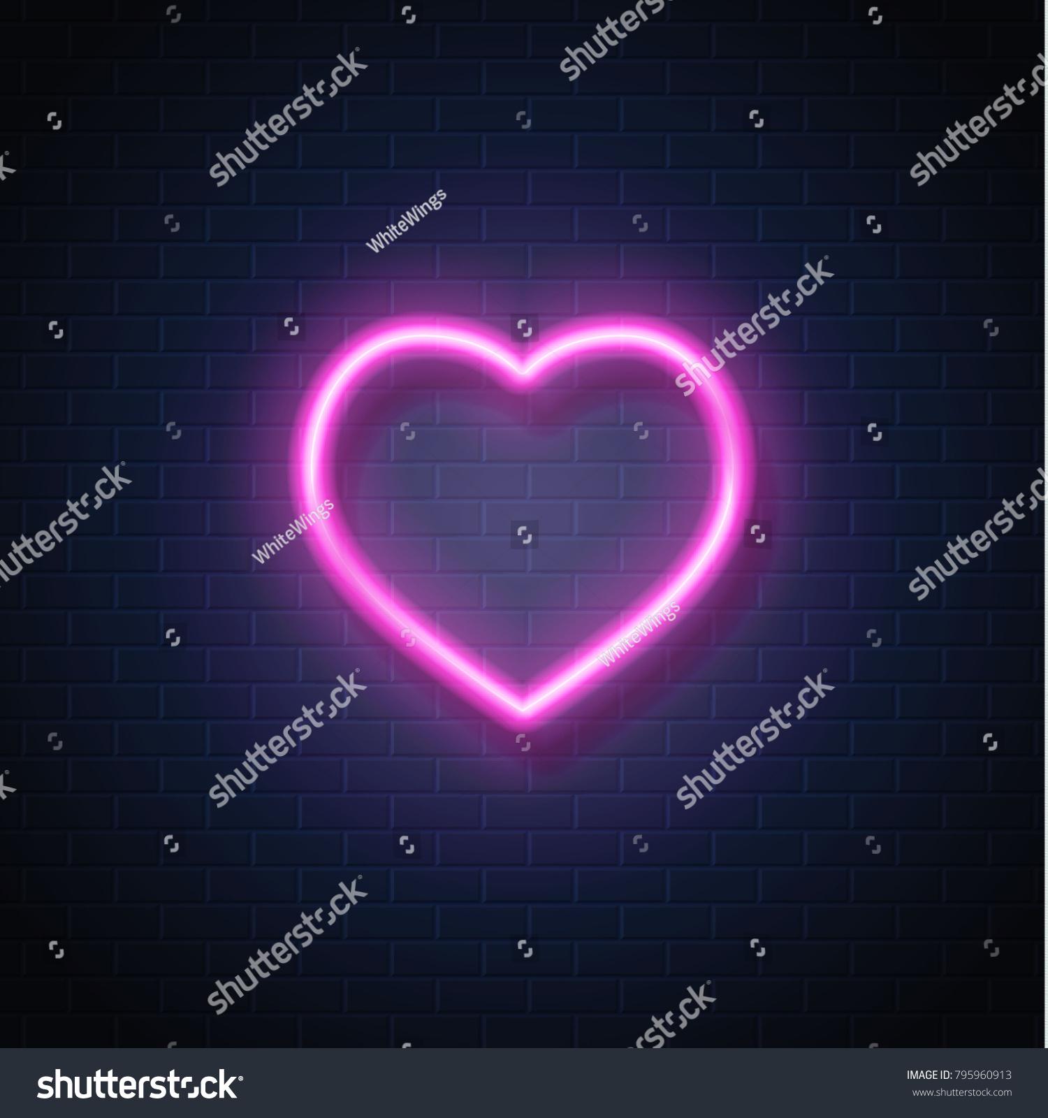 Neon Heart Sign Vector Glowing Valentine Stock-vektorgrafik ...