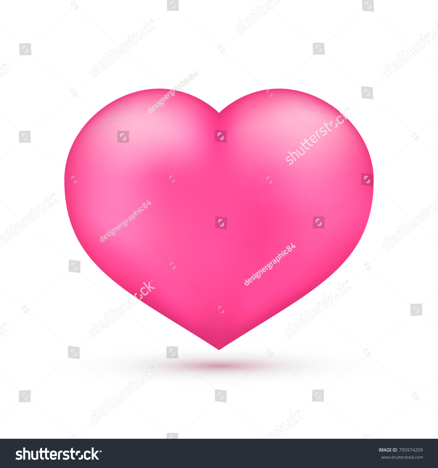 Realistic Pink Heart Isolated On White Valentine S Day Greeting