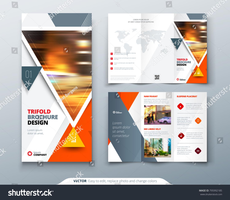 tri fold brochure design orange template stock vector royalty free
