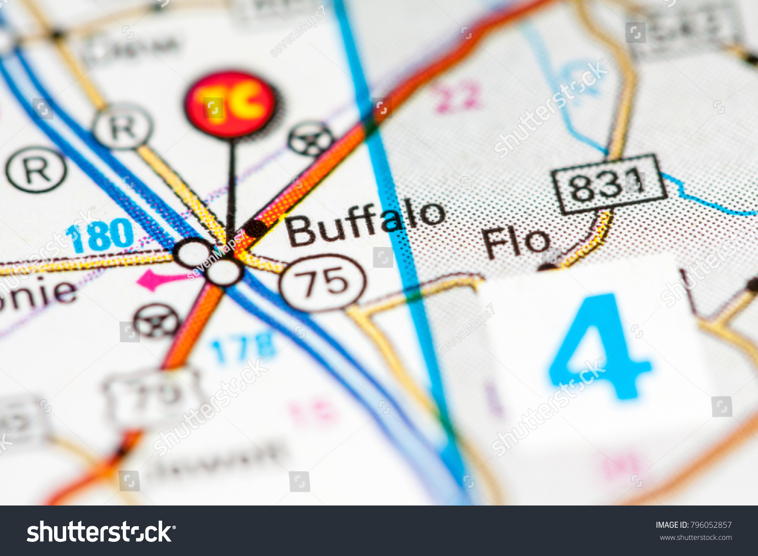Buffalo Texas Usa On Map Stock Photo Edit Now 796052857 Shutterstock