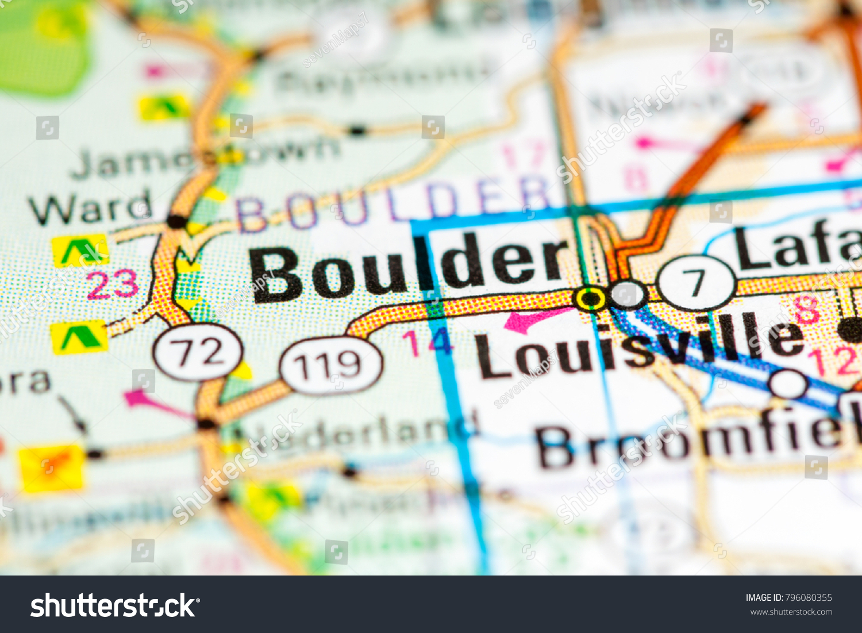 Boulder Colorado USA On Map Stockfoto (Jetzt bearbeiten ...