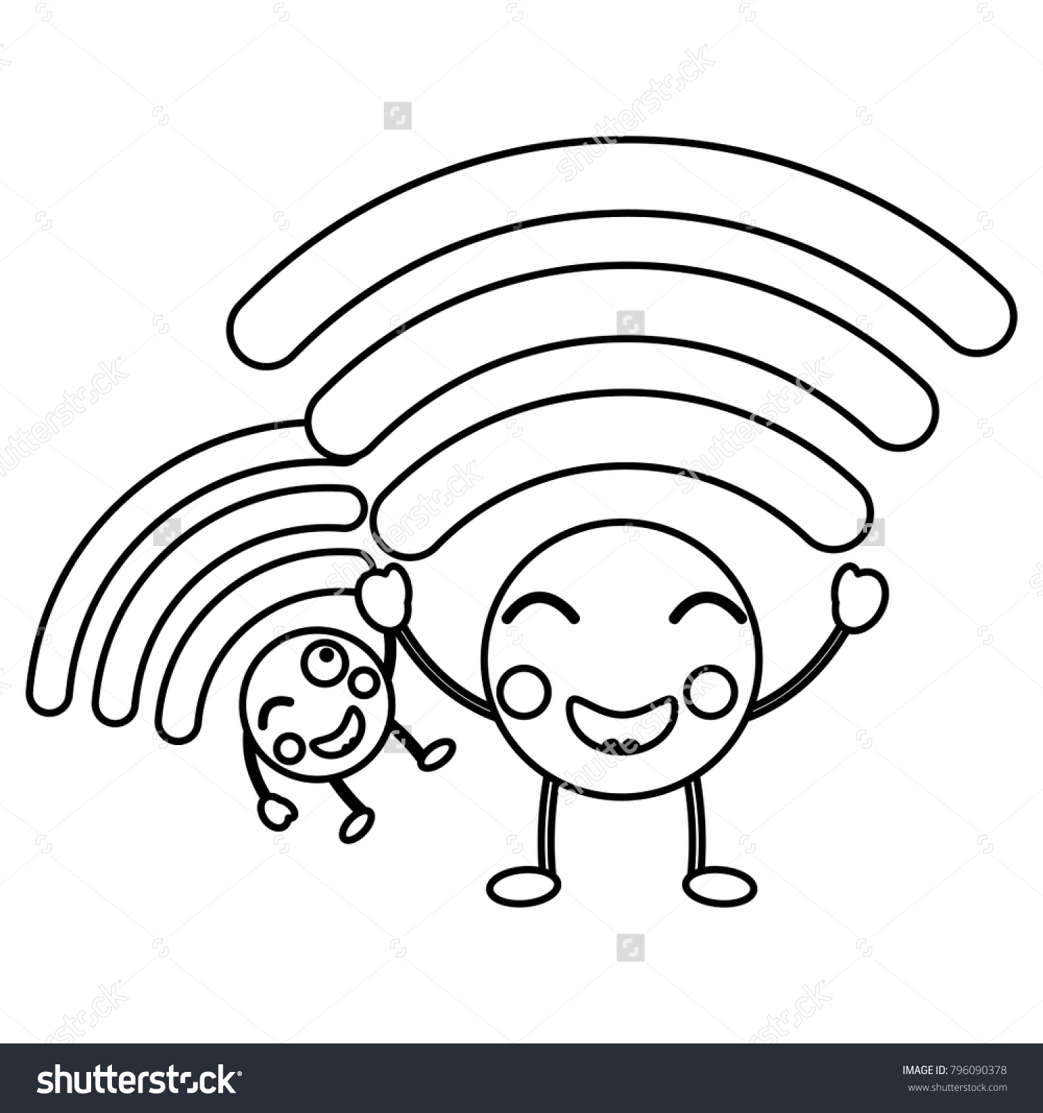 cartoon wifi internet signal kawaii character stock vector royalty Wireless Router cartoon wifi internet signal kawaii character