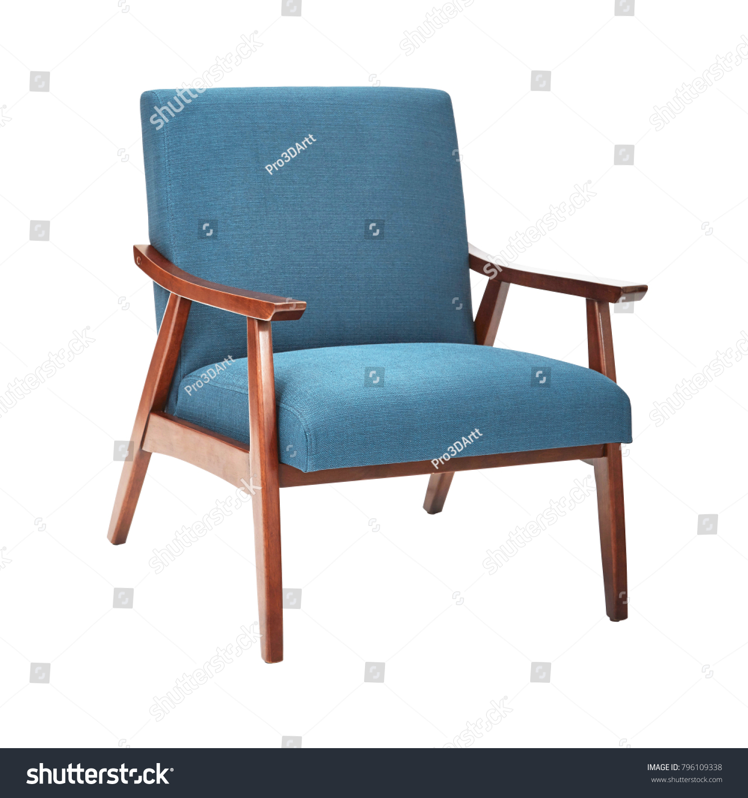 Mid century modern chair isolated on white background modern arm chair with wood armrests