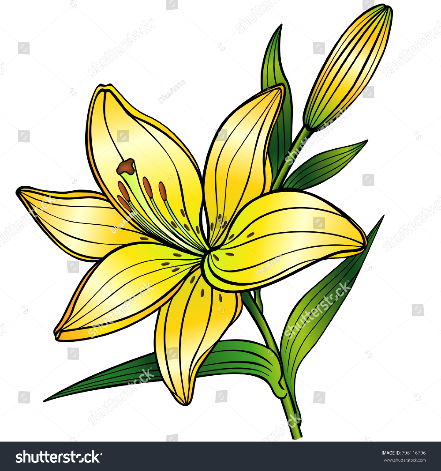 Yellow lily flower budlinear drawing gradient stock vector royalty yellow lily flower with budnear drawing with gradient izmirmasajfo