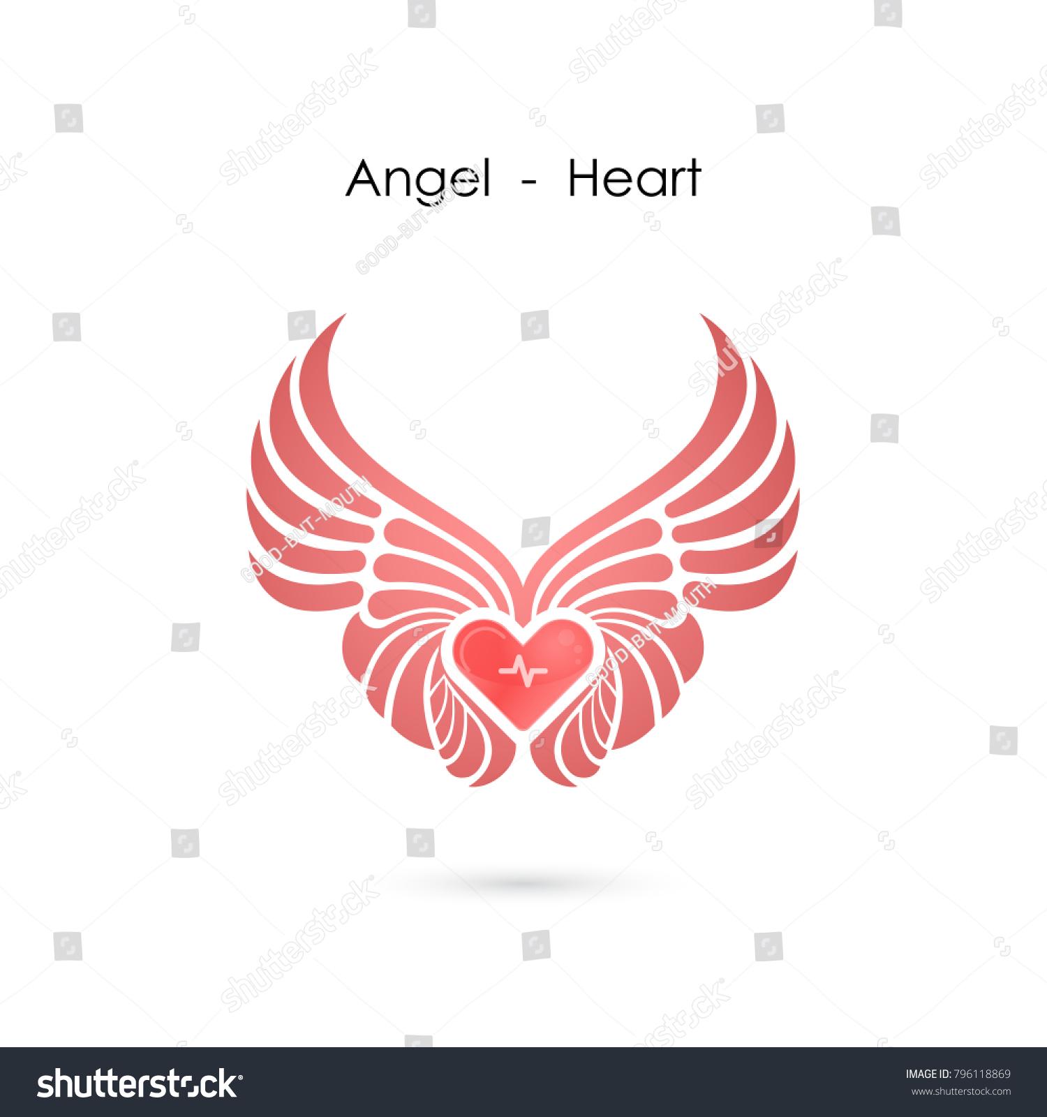 Heart Logo Angel Wings Logo Design Stock Vector Royalty Free