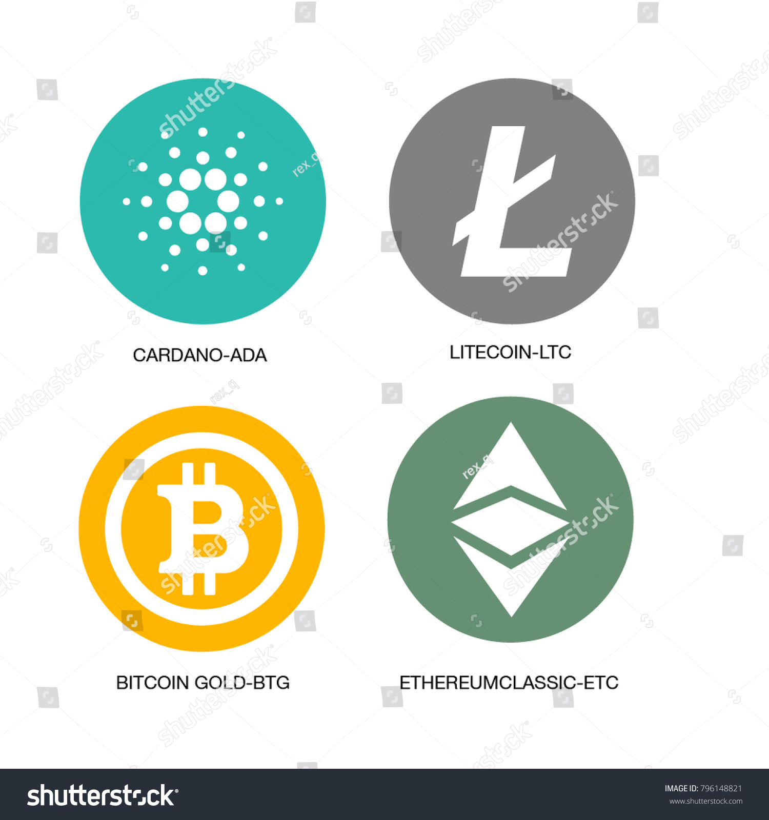 Crypto Currency Vector Icons Stock Vector Royalty Free 796148821