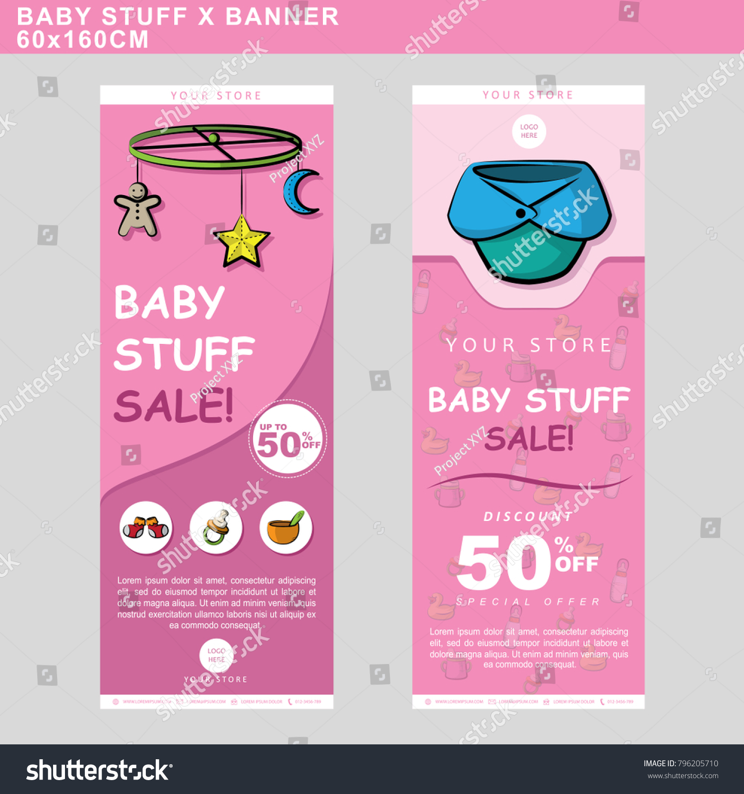 Baby Stuff Sale Banners Accessories Decoration Stock Vector Royalty