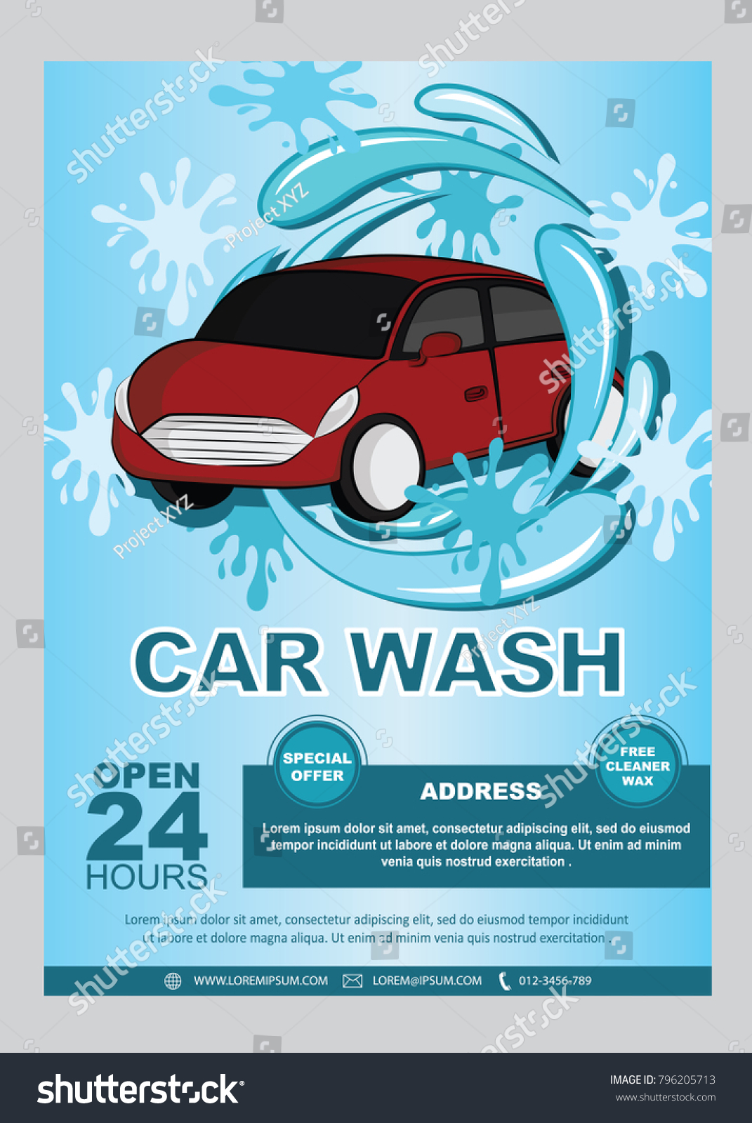 Car Wash Flyers Decorated Car Icon Stock Vector Royalty Free
