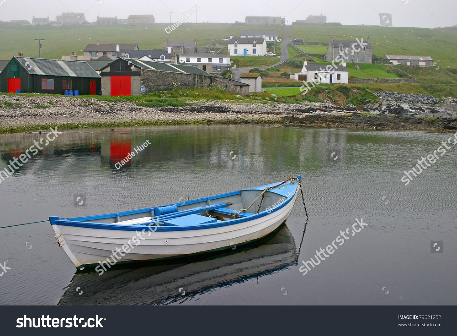 Small boat on a misty day near Lerwick, Shetland Islands part of Scotland in the United Kingdom.