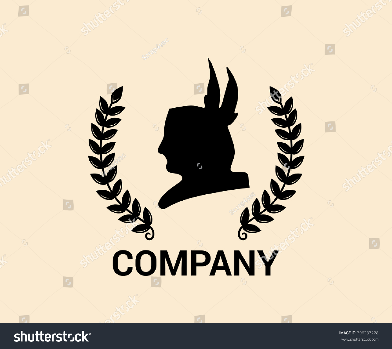 Black Color Head Silhouette Apache Indian Stock Vector Royalty Free