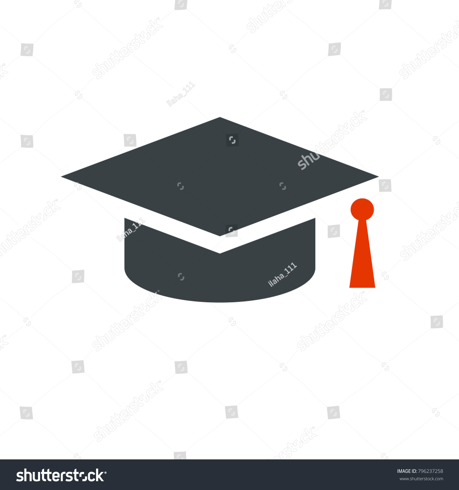 Graduation Cap Black Red Stock Vector HD (Royalty Free) 796237258 ...