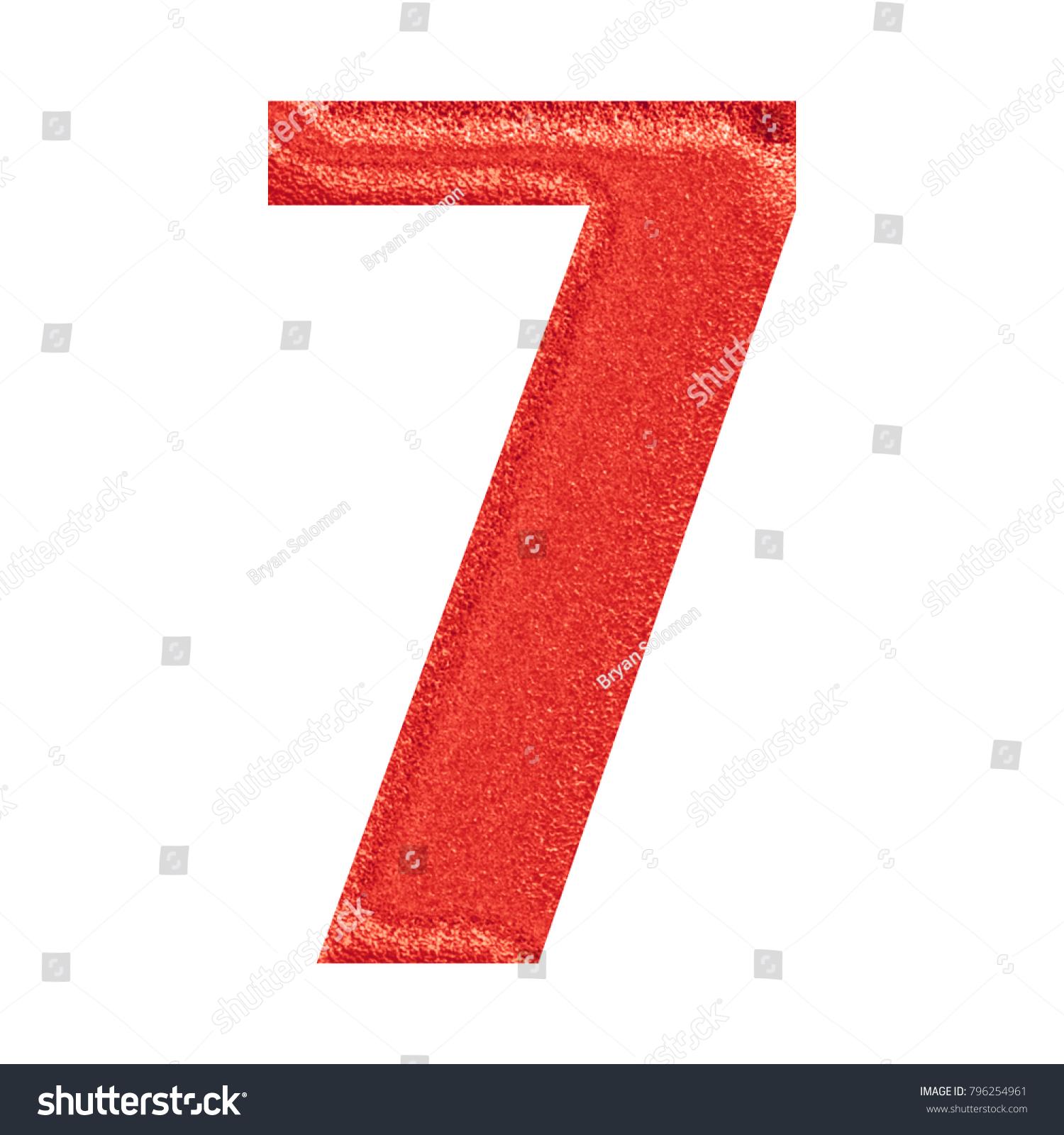 Sparkling Red Number Seven 7 3 D Stock Illustration 796254961