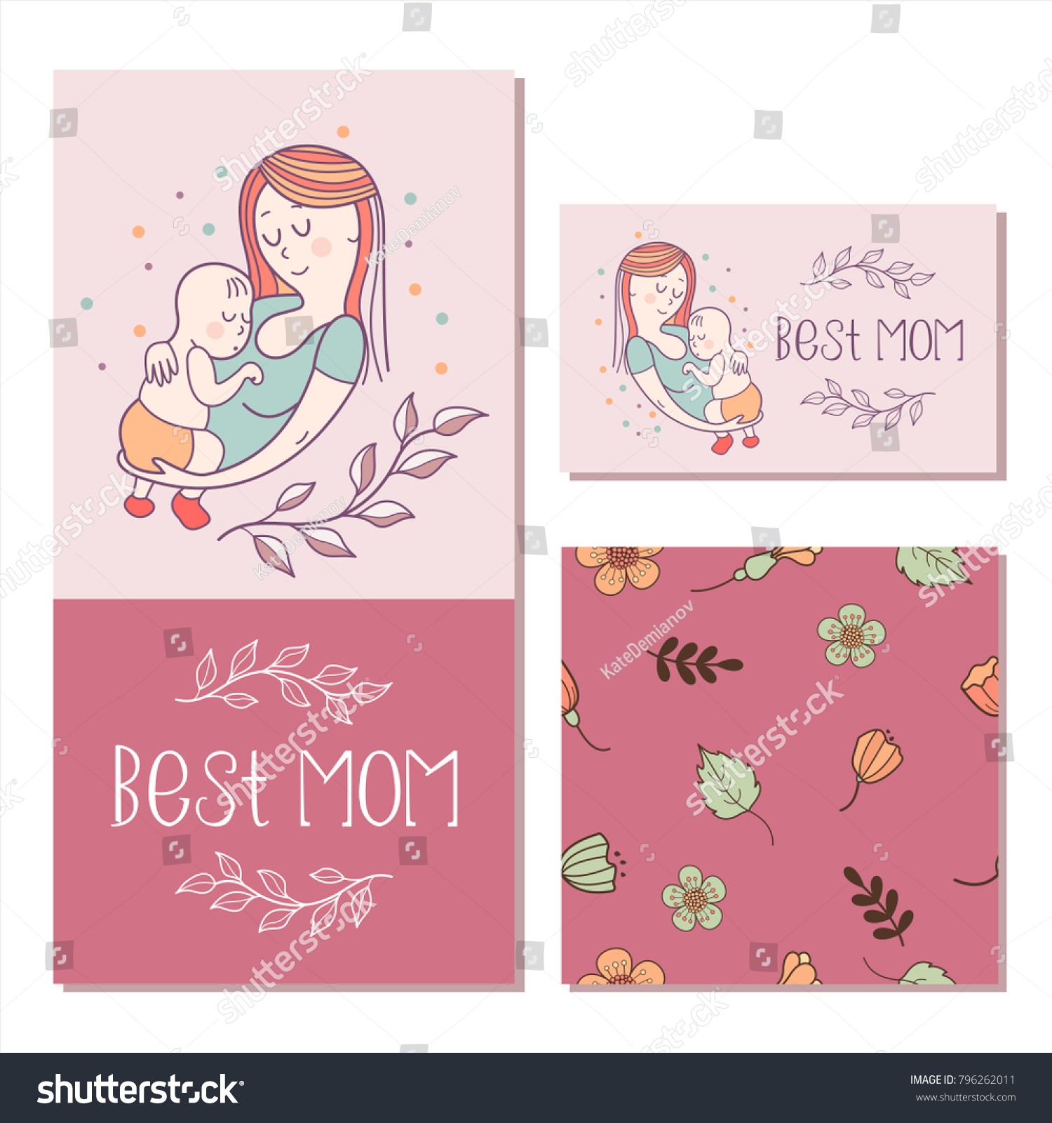 Greeting Card Mothers Day Best Mom Stock Vector (Royalty Free ...