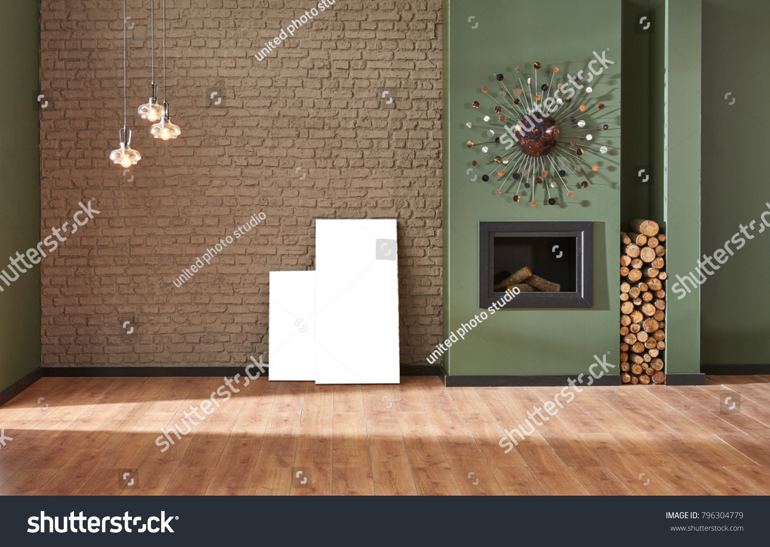 decor design green and brown living room decor interior design brown brick wall and green wall living room decoration fireplace and home  ornaments interior style