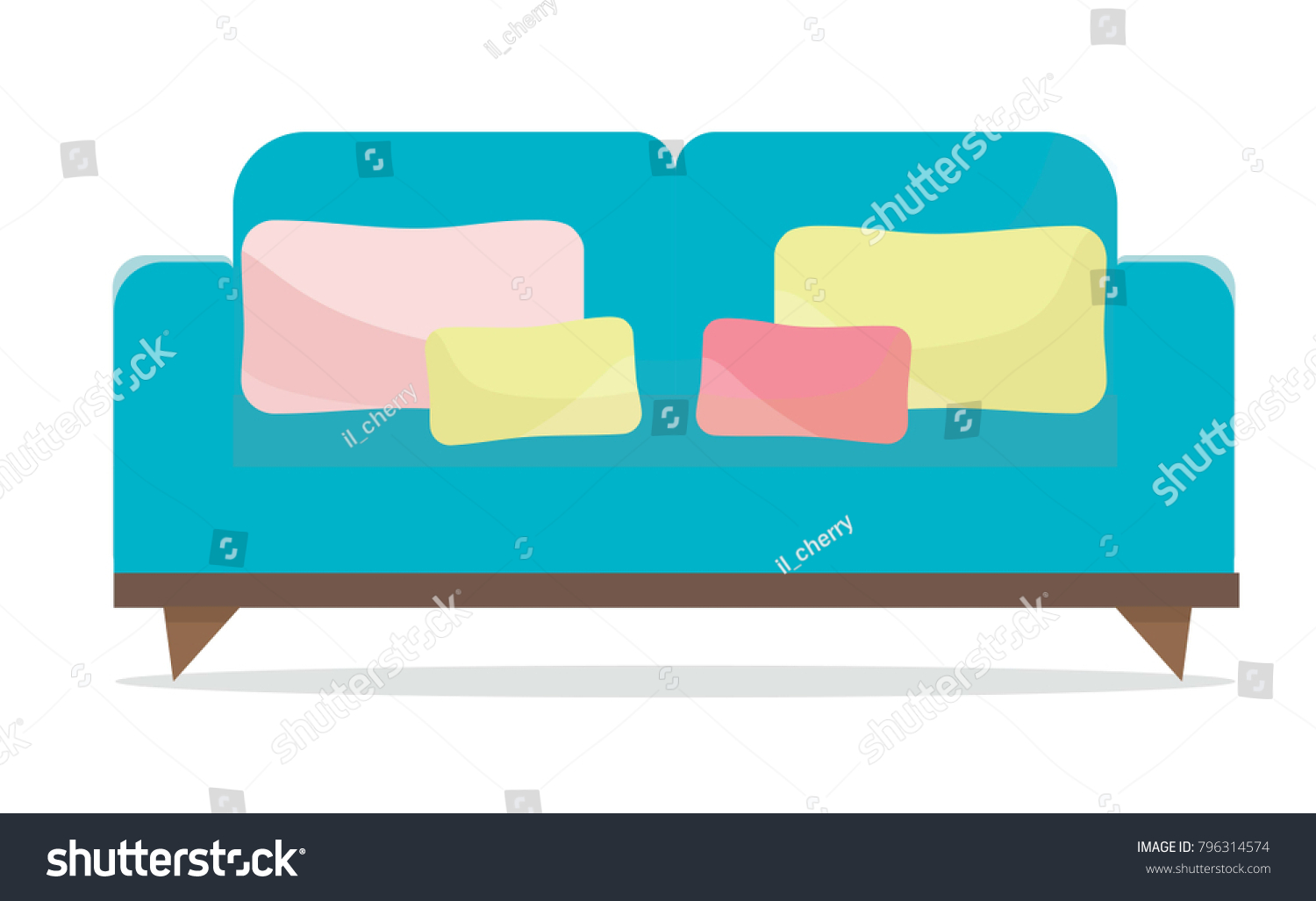 sofa couch pillows colorful cartoon illustration stock vector