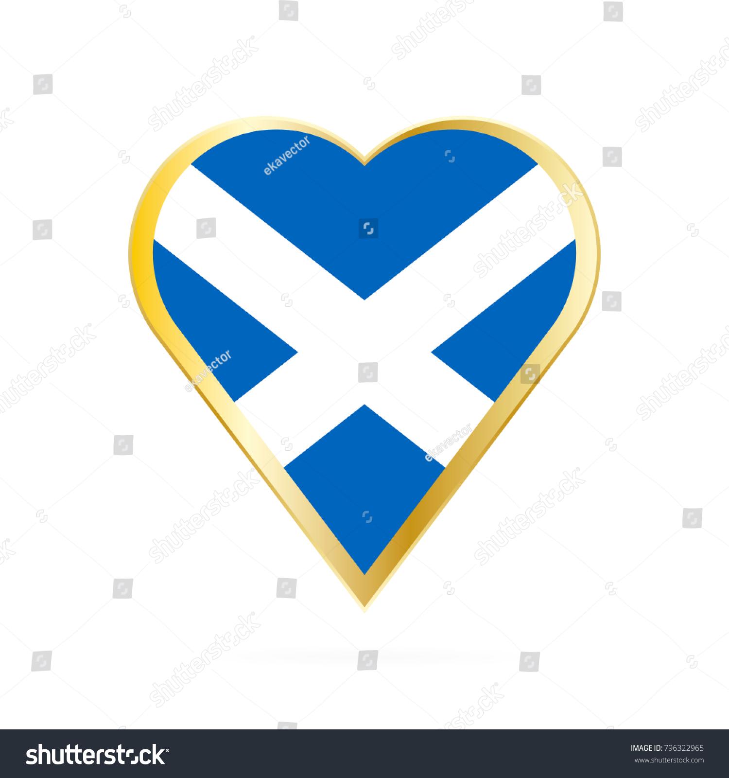 Flag Scotland Shape Heart Symbol Love Stock Vector Royalty Free