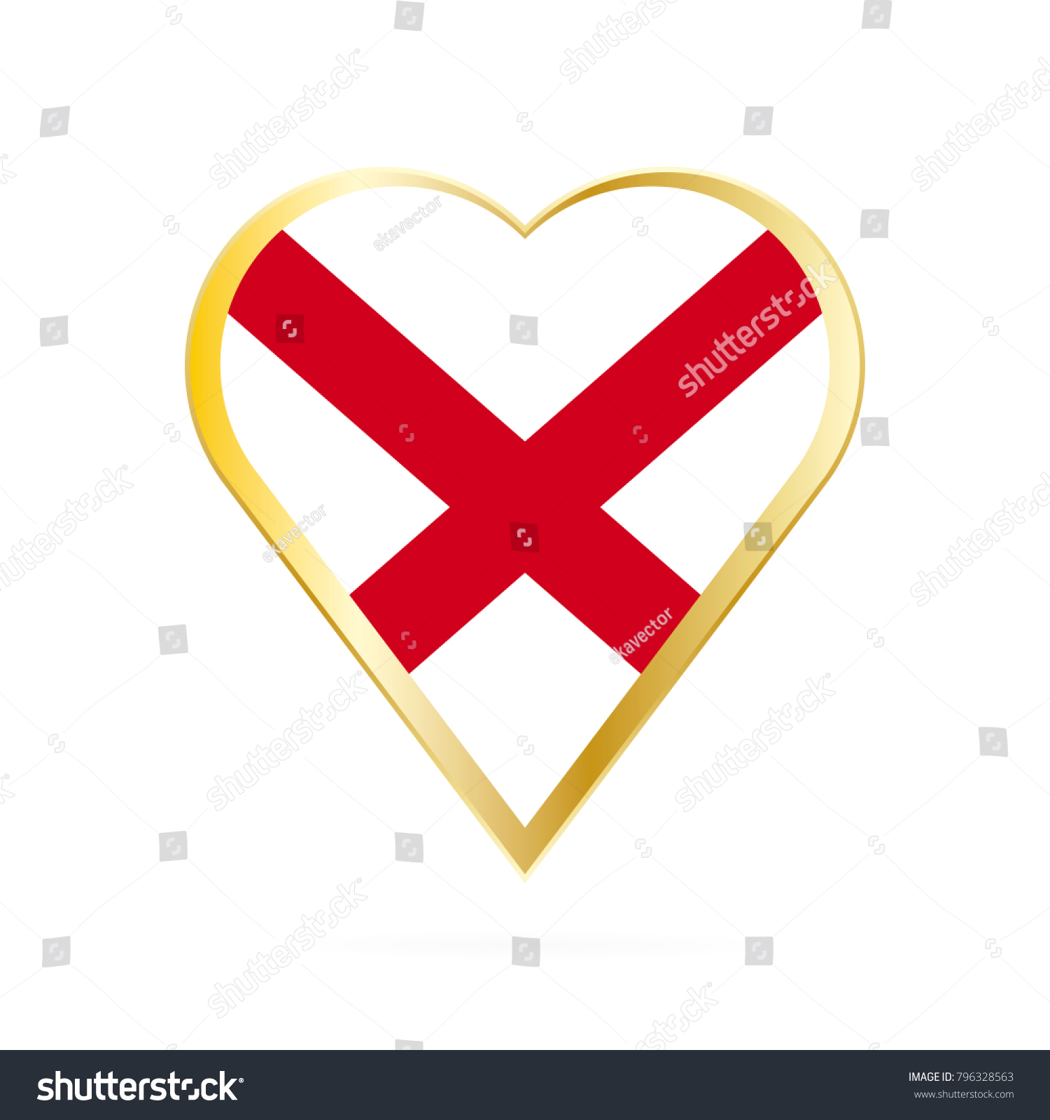 Flag Alabama Shape Heart Symbol Love Stock Vector Royalty Free