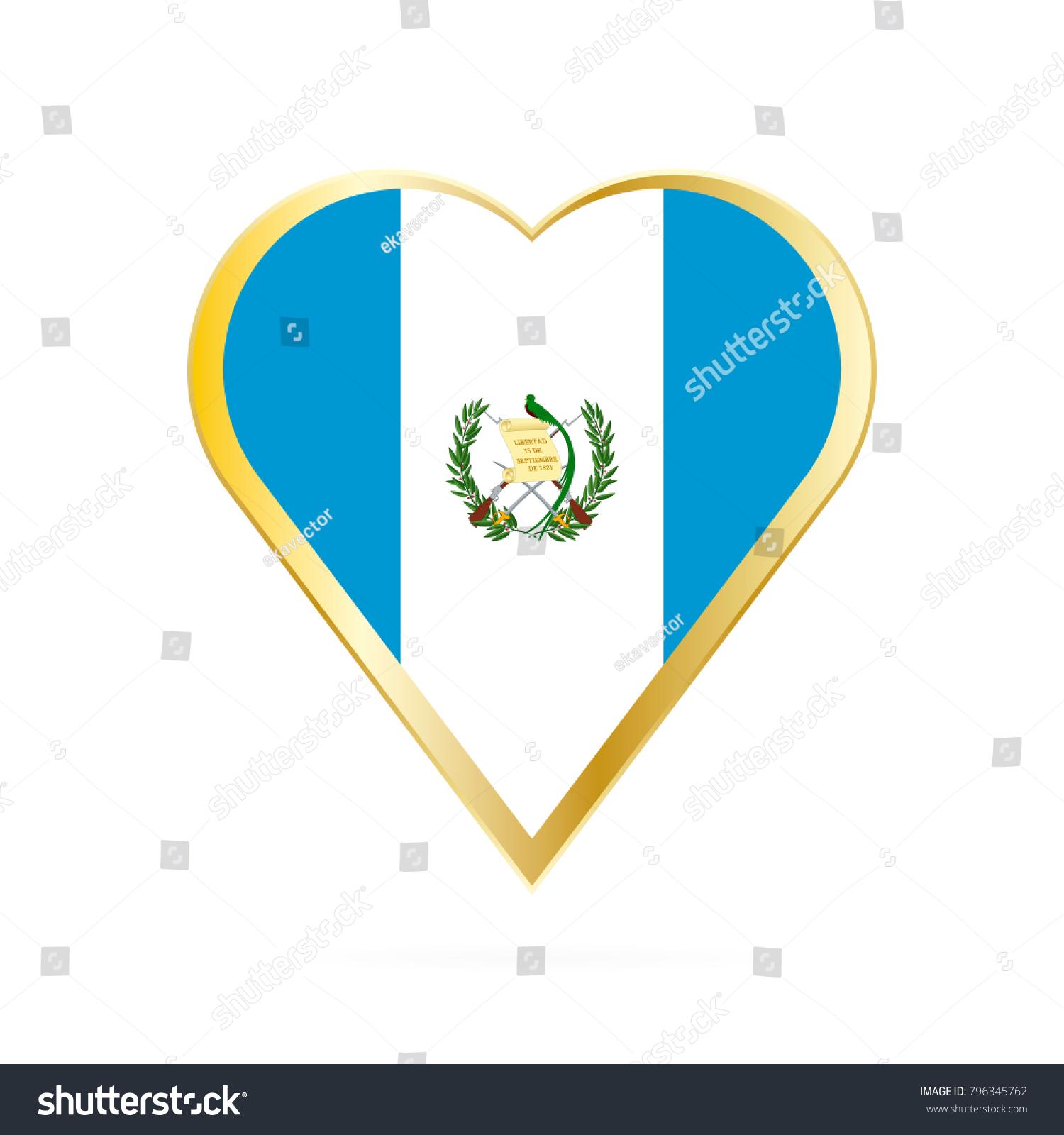 Flag Guatemala Shape Heart Symbol Love Stock Vector Royalty Free