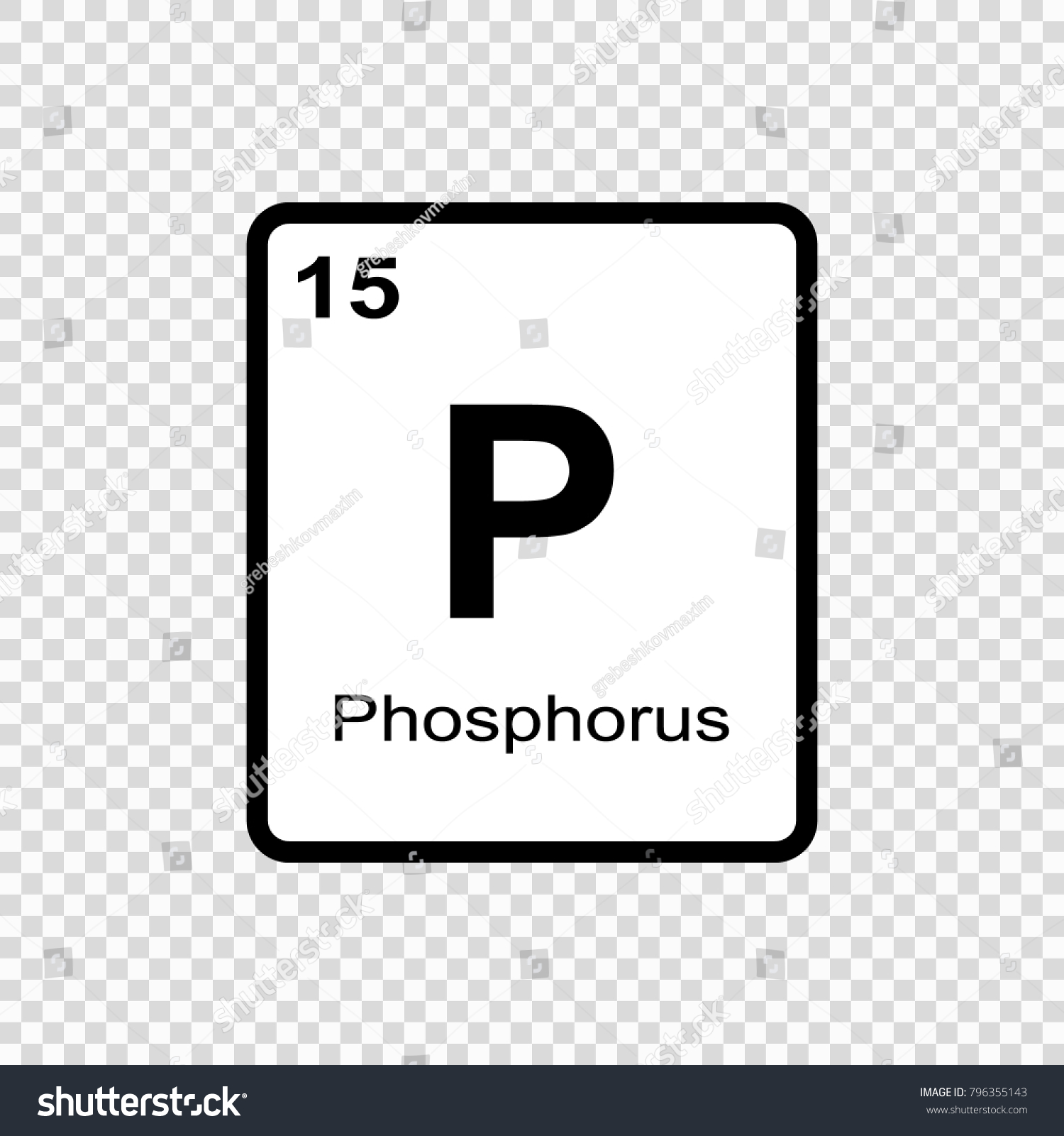 Phosphorus Chemical Element Sign Atomic Number Stock Vector Royalty