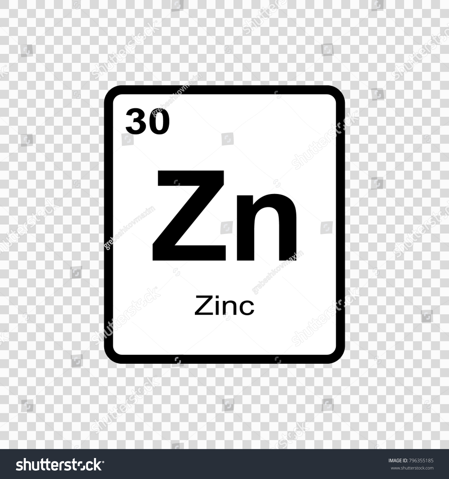 Zinc Chemical Element Sign Atomic Number Stock Vector Royalty Free