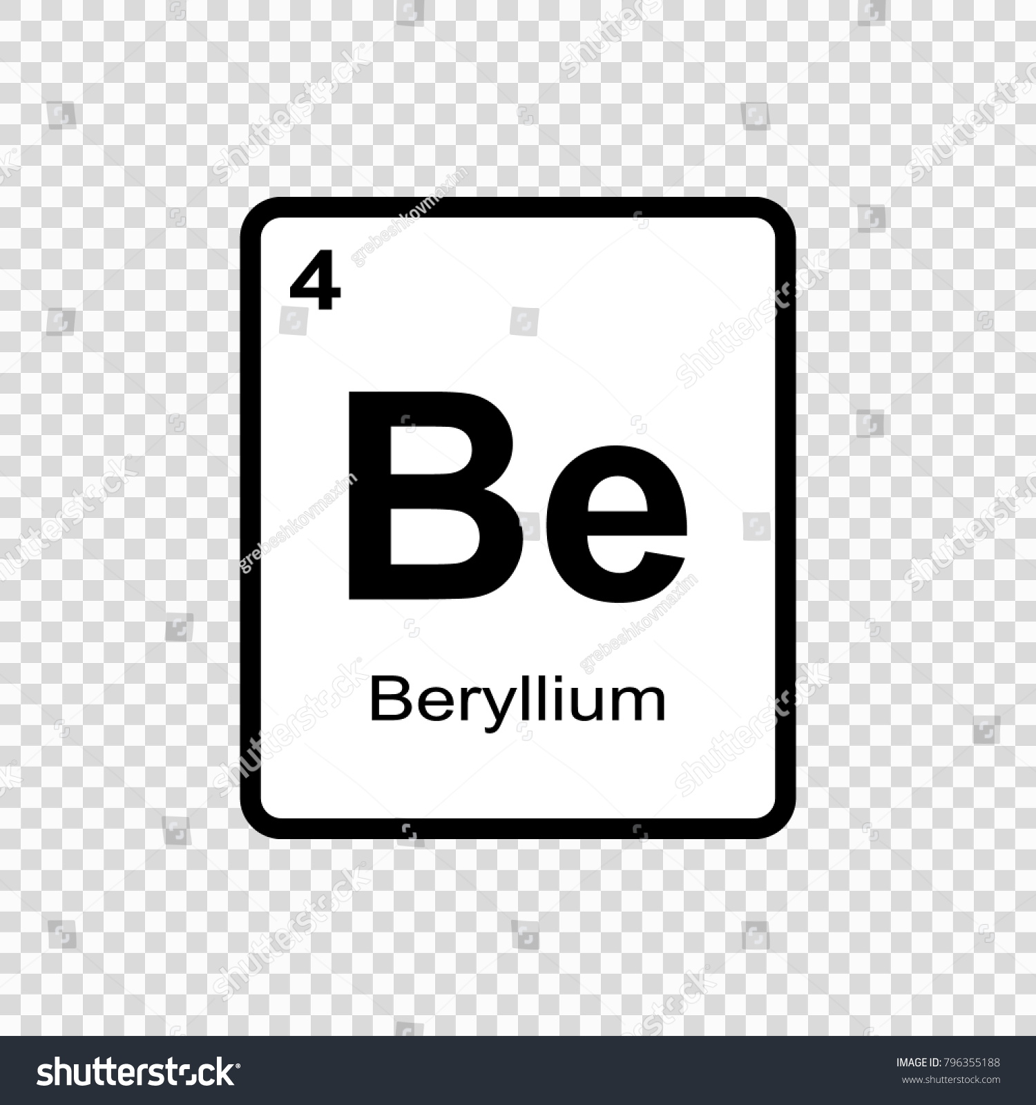 Beryllium chemical element sign atomic number stock vector beryllium chemical element sign with atomic number chemical element of periodic table buycottarizona Image collections