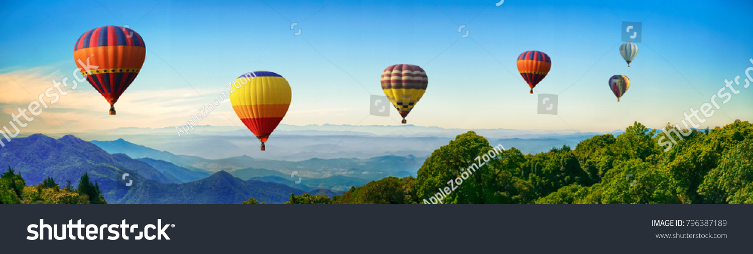 Panorama of mountain with hot air balloons on morning at Thailand. #796387189