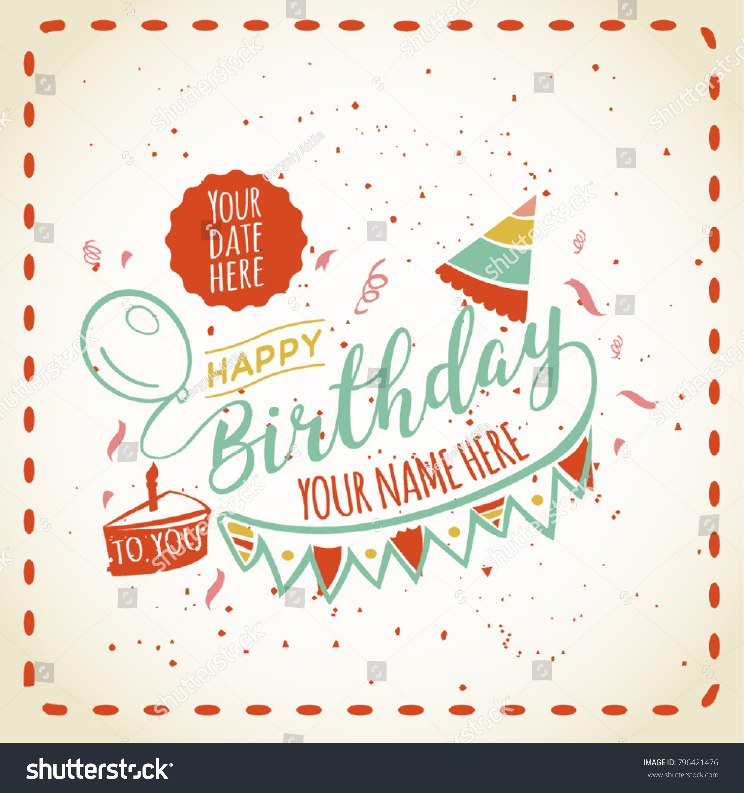 Awe Inspiring Happy Birthday Card Space Your Name Stock Vector Royalty Free Funny Birthday Cards Online Sheoxdamsfinfo