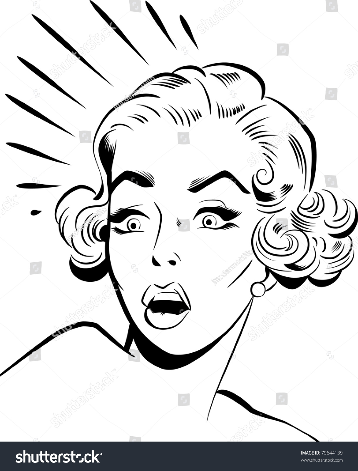 Scared Face Line Drawing : Scared woman stock illustration shutterstock
