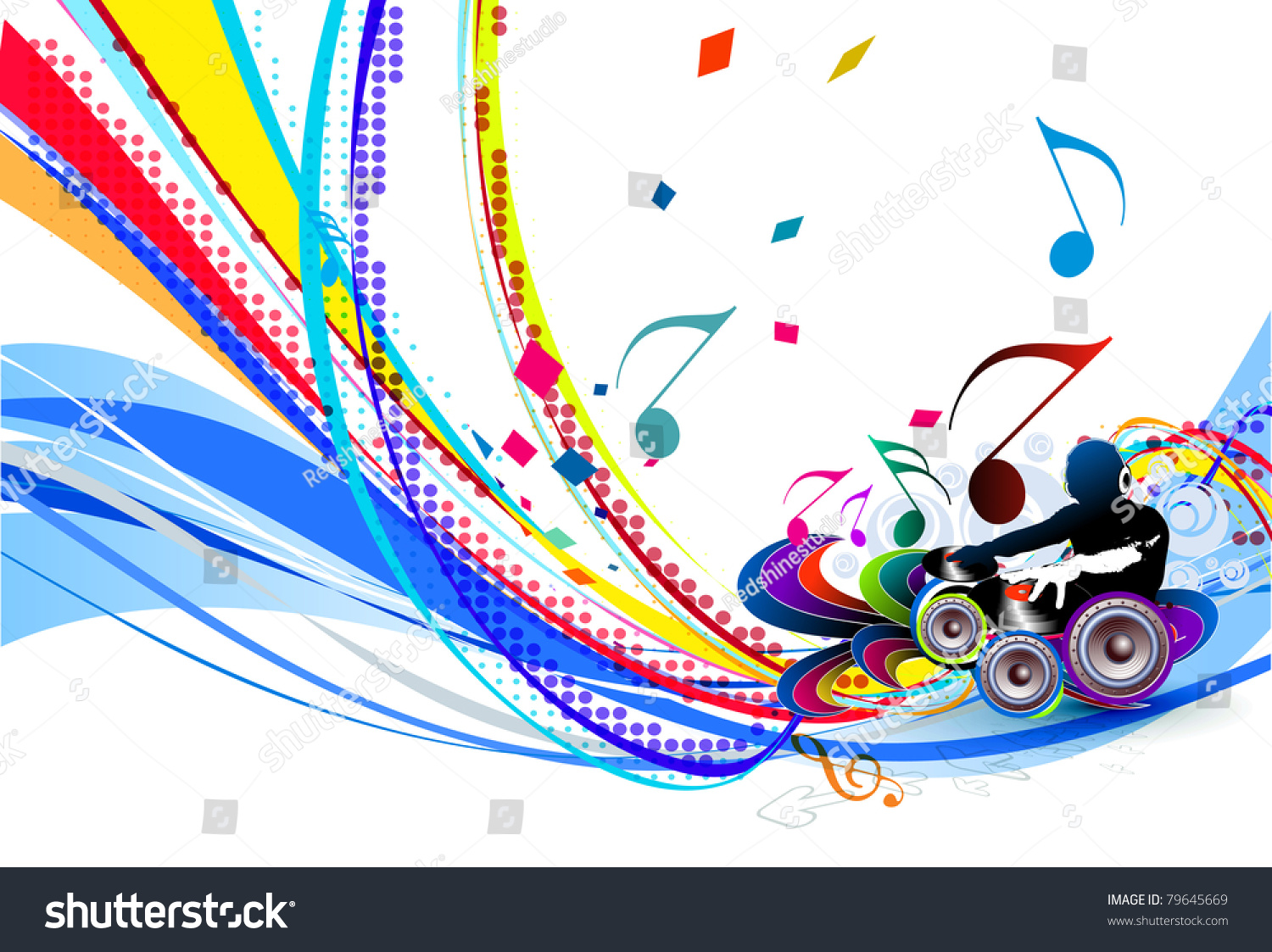 Abstract Vector Illustration Of An Dj Man Playing Tunes With Musics Note Background