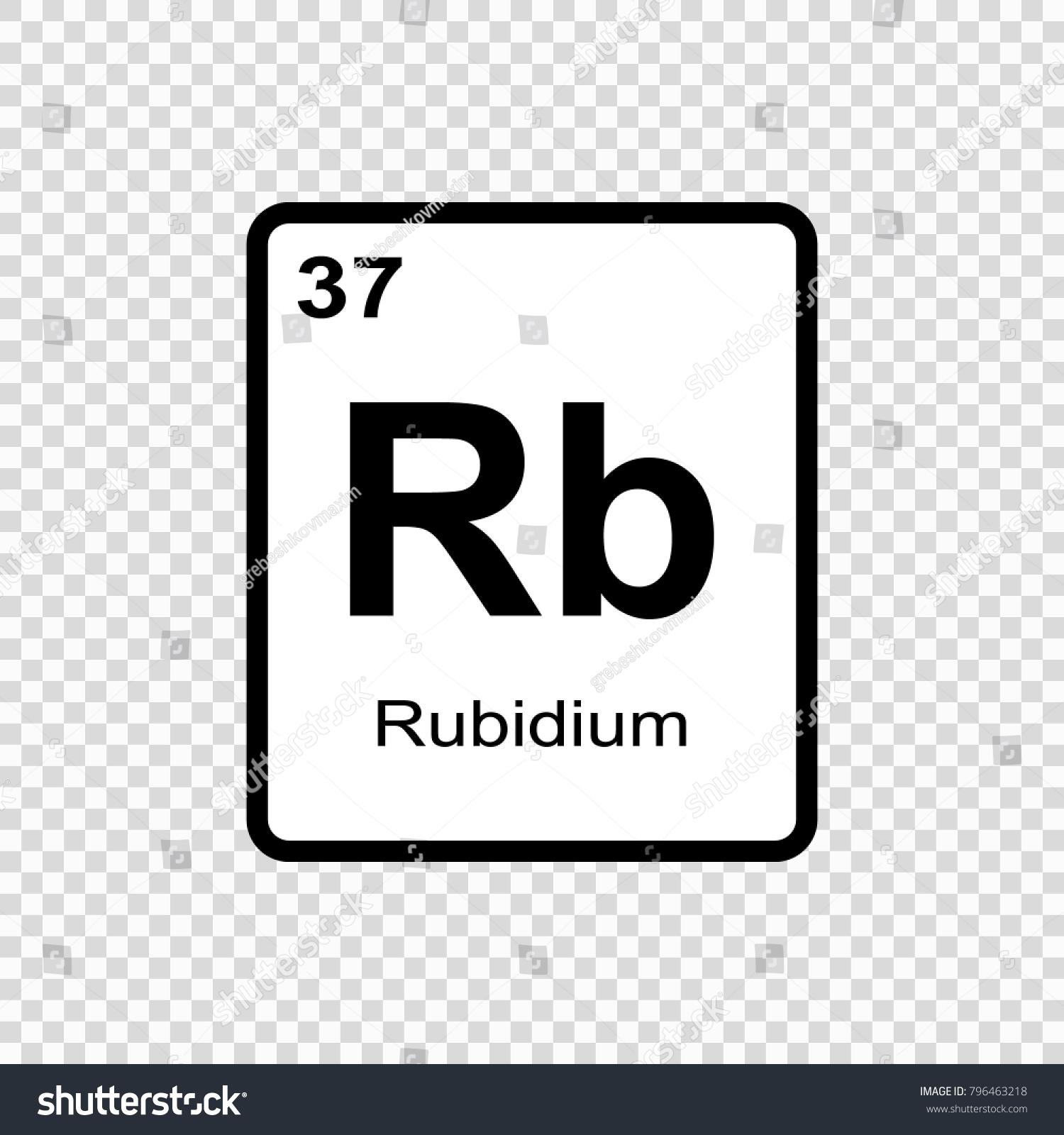 Rubidium Chemical Element Sign Atomic Number Stock Vector Royalty