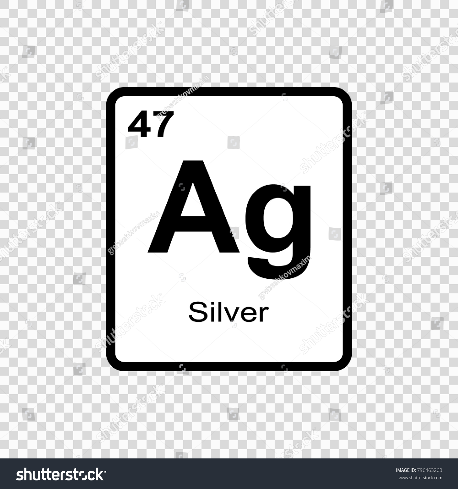 Silver Chemical Element Sign Atomic Number Stock Vector Royalty