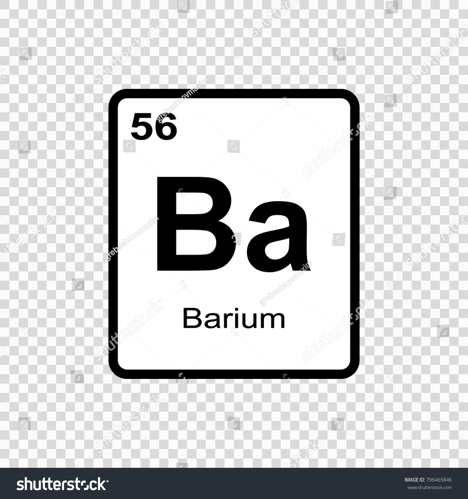 Barium Chemical Element Sign Atomic Number Stock Vector Royalty