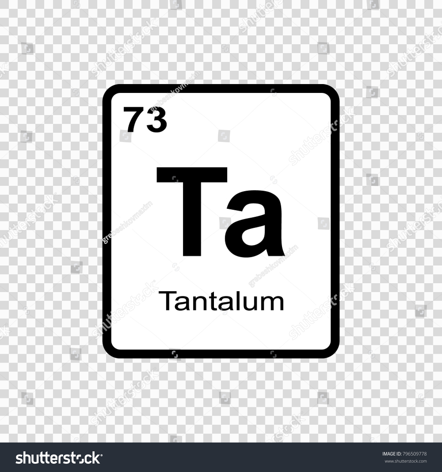 Tantalum Chemical Element Sign Atomic Number Stock Vector Royalty