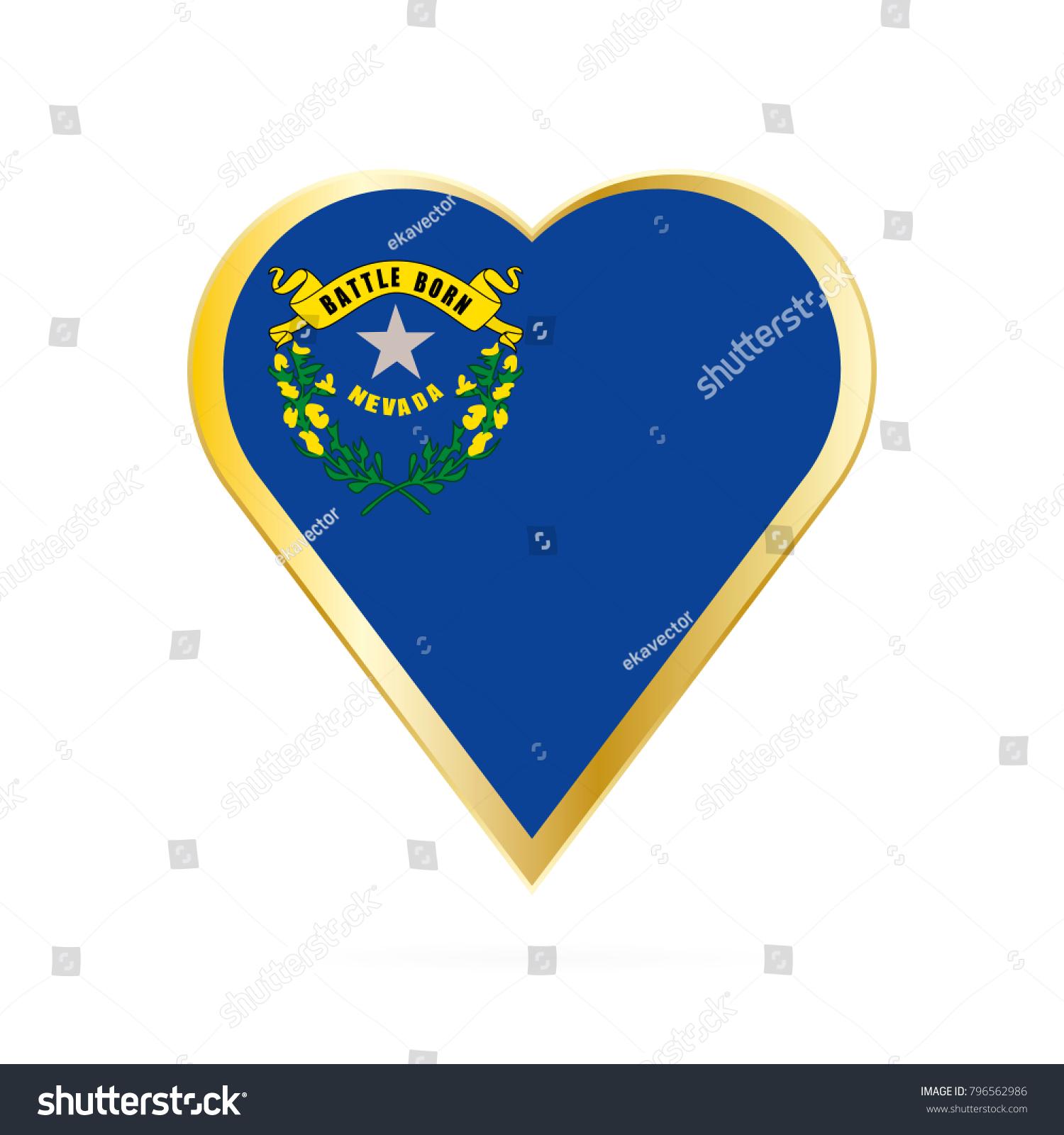 Flag Nevada Shape Heart Symbol Love Stock Vector Royalty Free 796562986