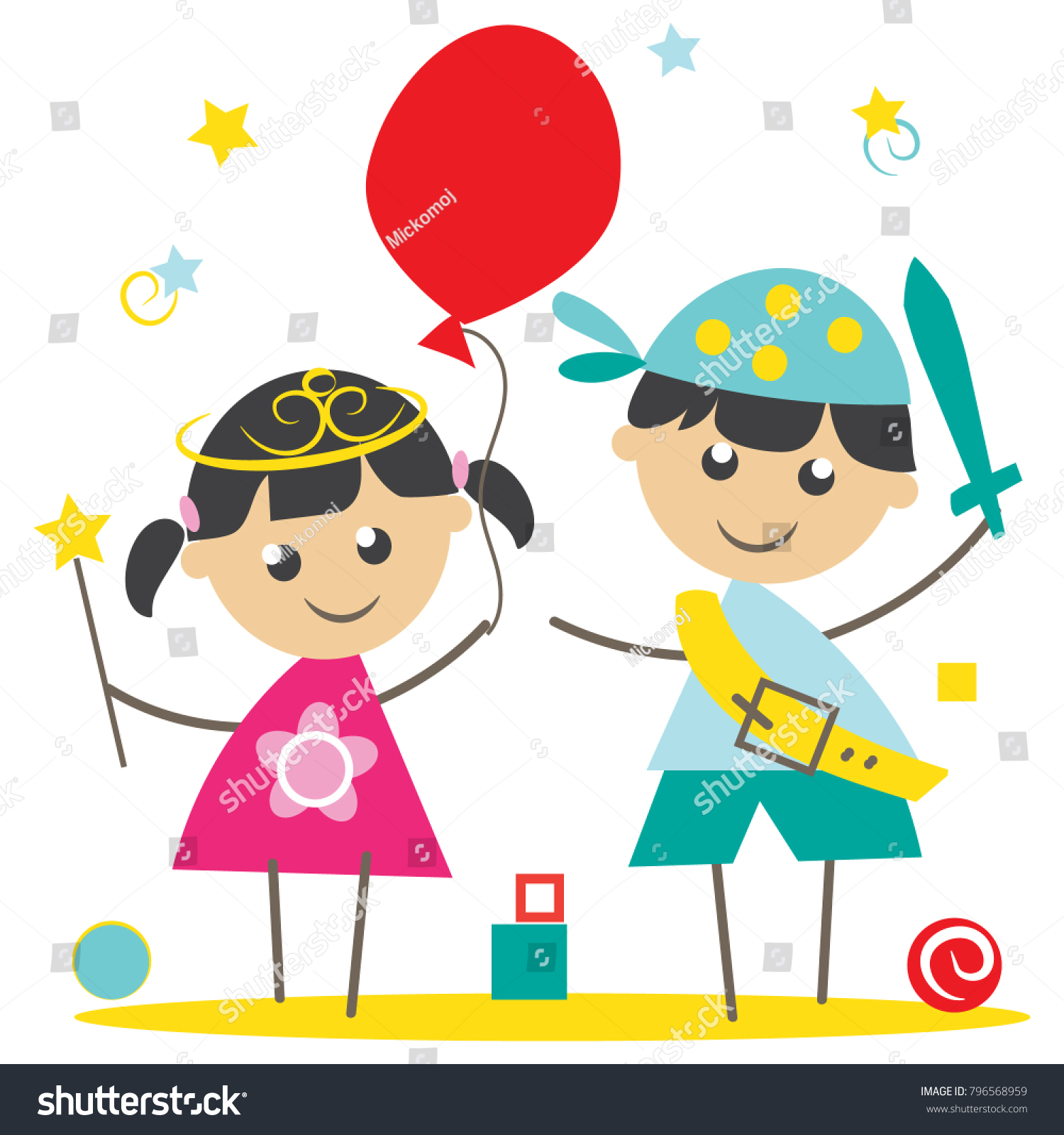 Kids Masquerade Party Vector Illustration Can Stock Vector (Royalty ...