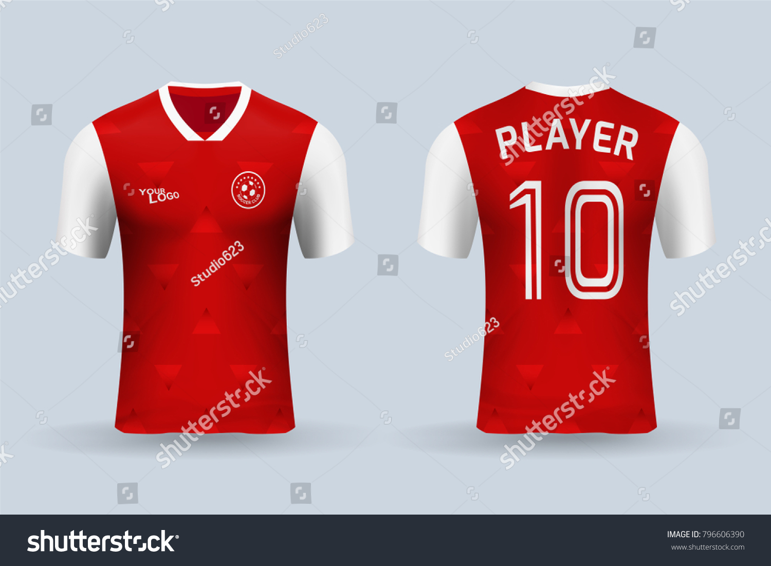 3D realistic of front and back view of soccer jersey shirt on shop  backdrop. Concept 8b00c3fcdb98