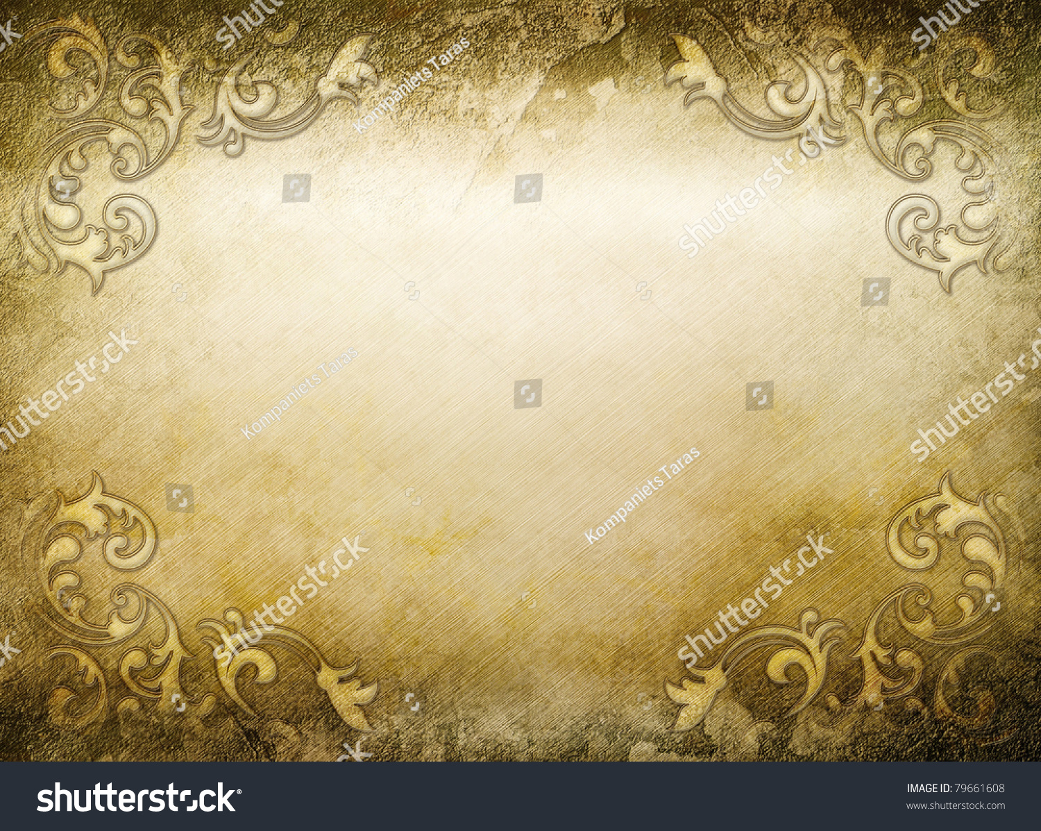 Vintage Golden Background Elegant Decor Elements Stock