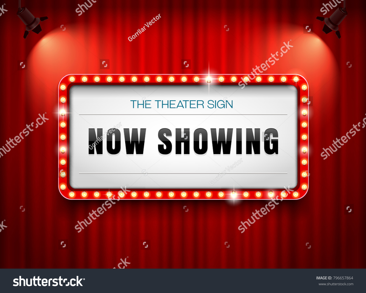 theater sign on curtain with spotlight #796657864