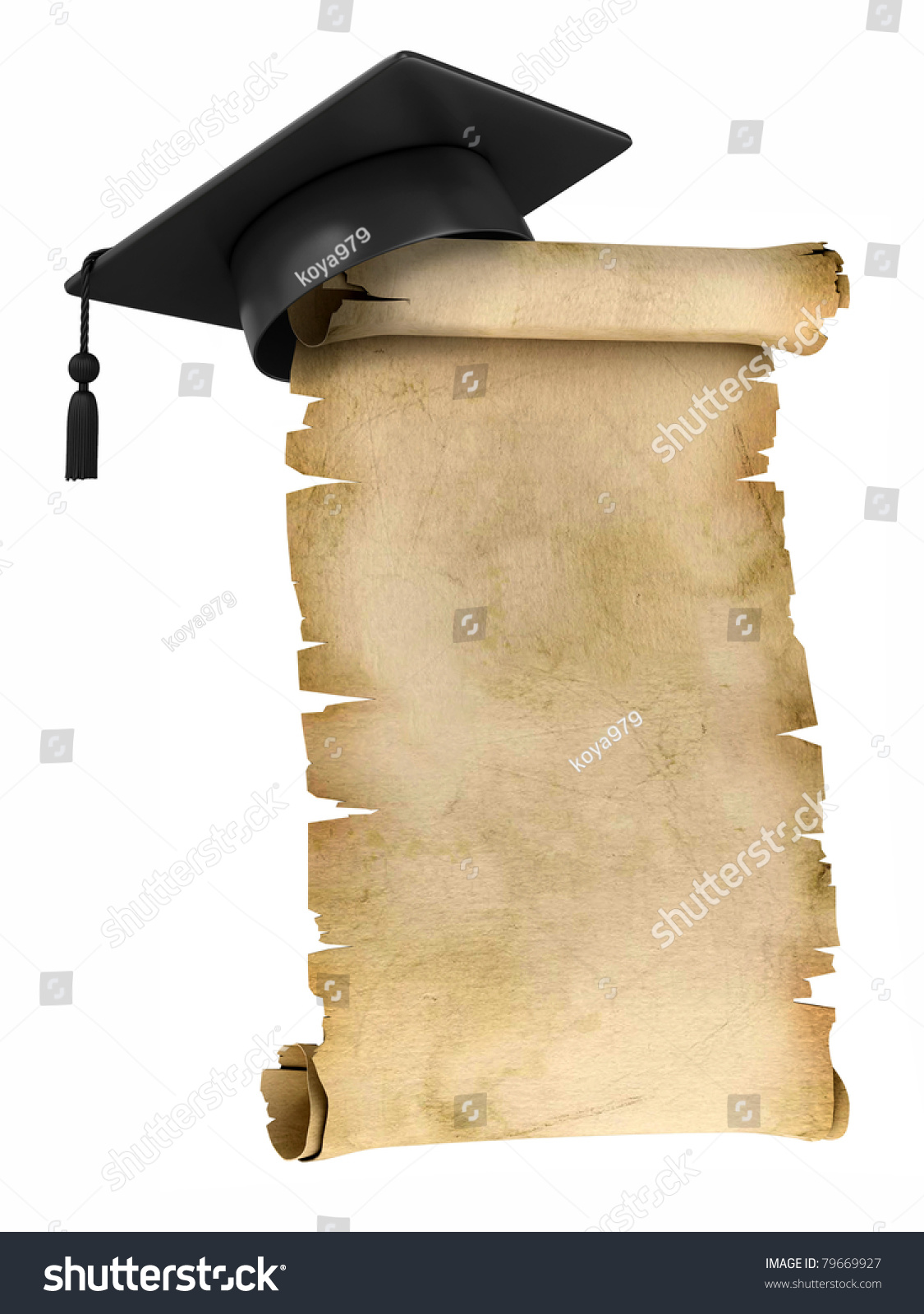 graduation cap on top old parchment stock illustration