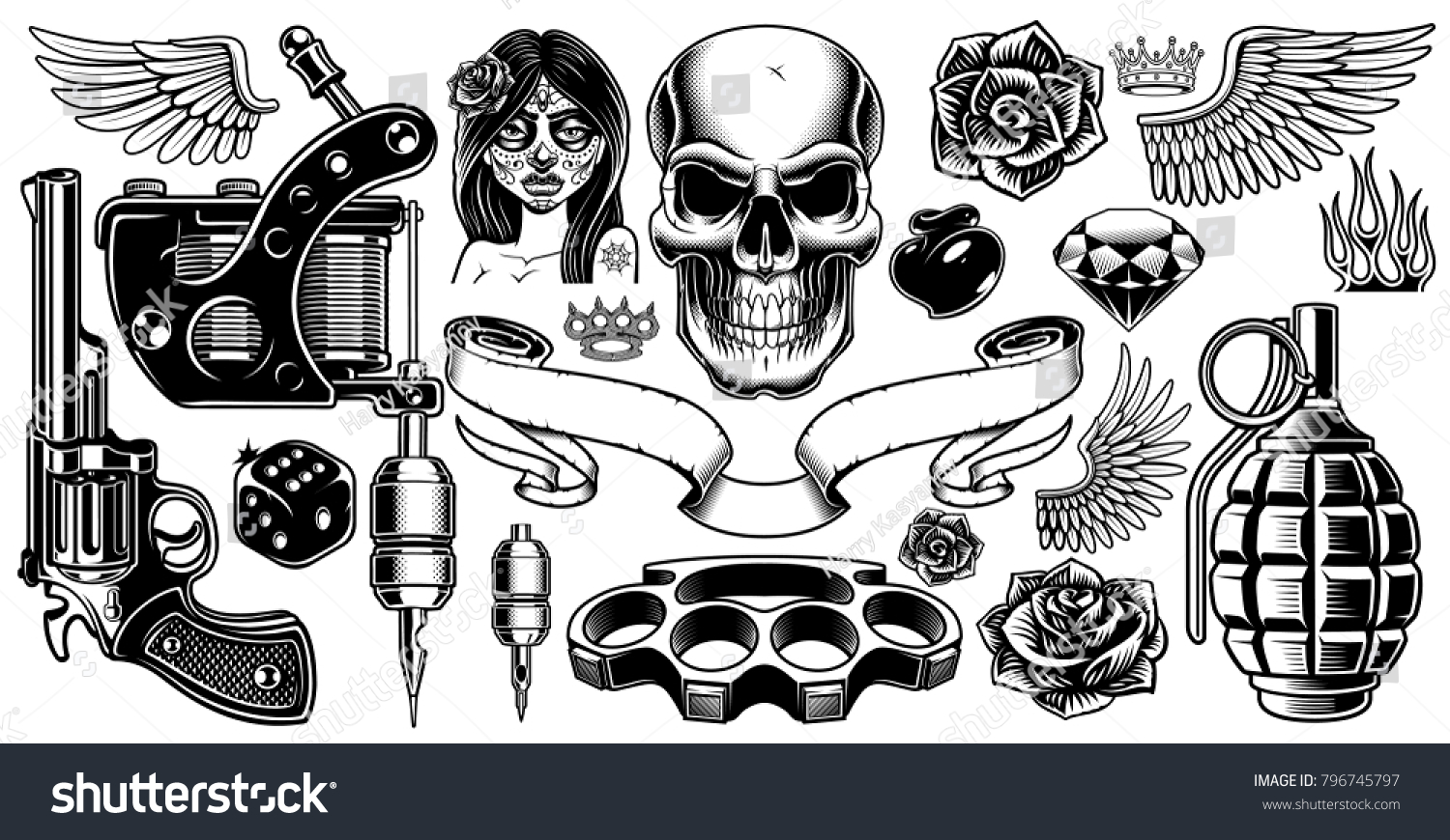 Set of tattoo art black and white tattoo design elements isolated on white background