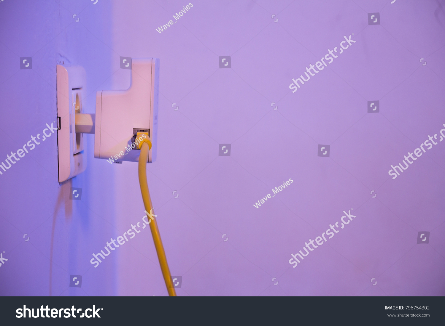 Extender Electrical Socket On Wall Ethernet Stock Photo Edit Now Poin Jack Wiring In The With Cable Plugged Device Is