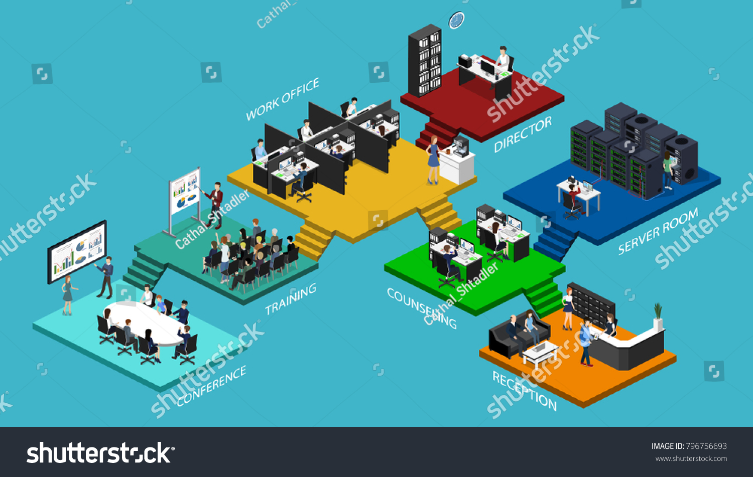 Isometric Flat 3 D Office Interior Departments Stock Illustration Series Circuit 3d Animated Model Parallel Concept Conference Hall Offices Workplaces Director