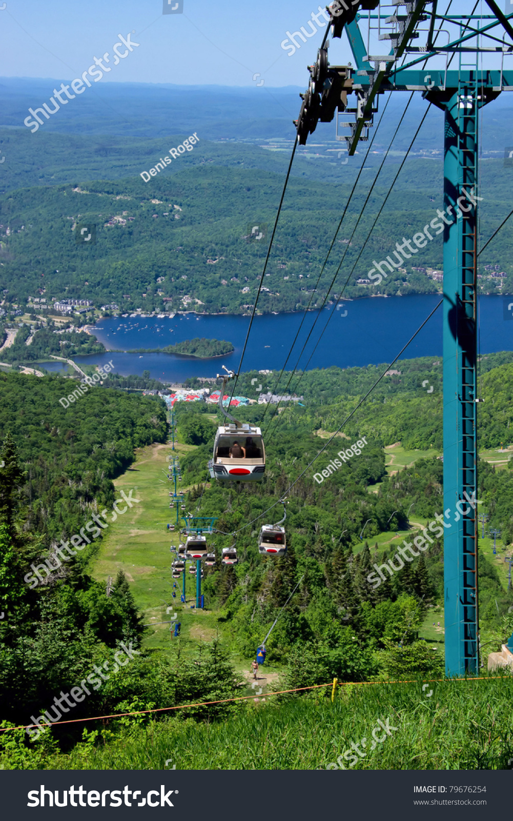 Aeriial View Peoples Using Chairlift Ascend Stock Photo