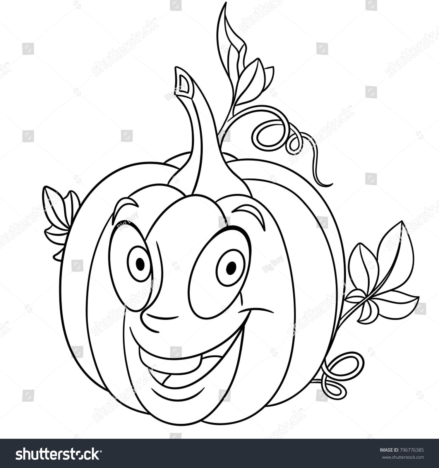 Coloring Page Coloring Book Cartoon Pumpkin Stock Vector HD (Royalty ...