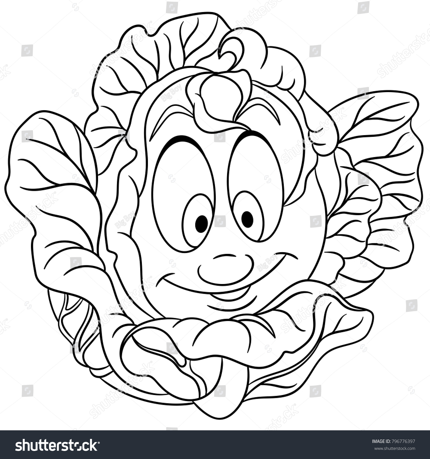 Coloring Page Coloring Book Cartoon Cabbage Stock Vector (Royalty ...